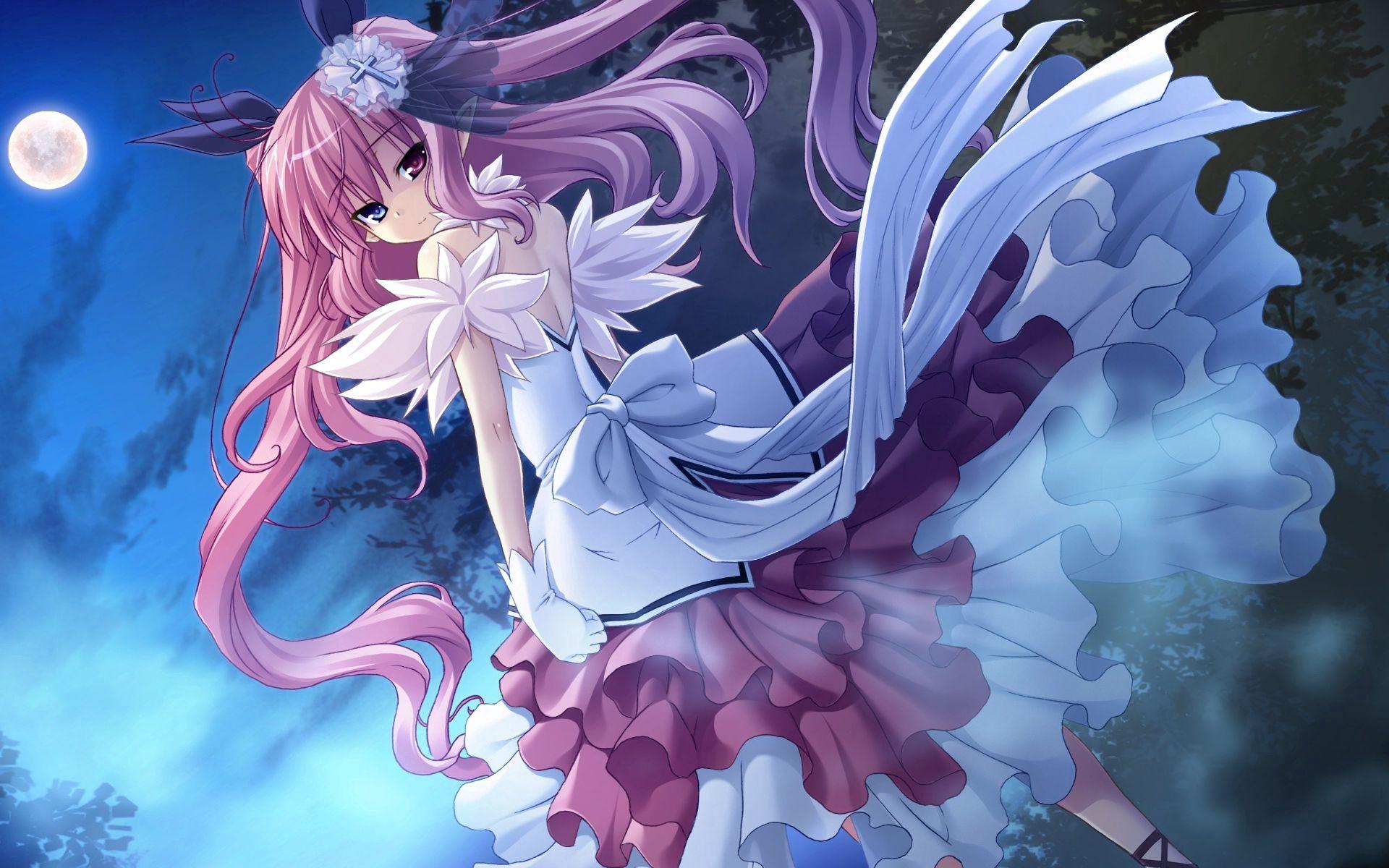 110269 descargar fondo de pantalla Anime, Niña, Muchacha, Cabello, Vestir, Vestido, Luna, Noche, Yugo, Coqueta: protectores de pantalla e imágenes gratis