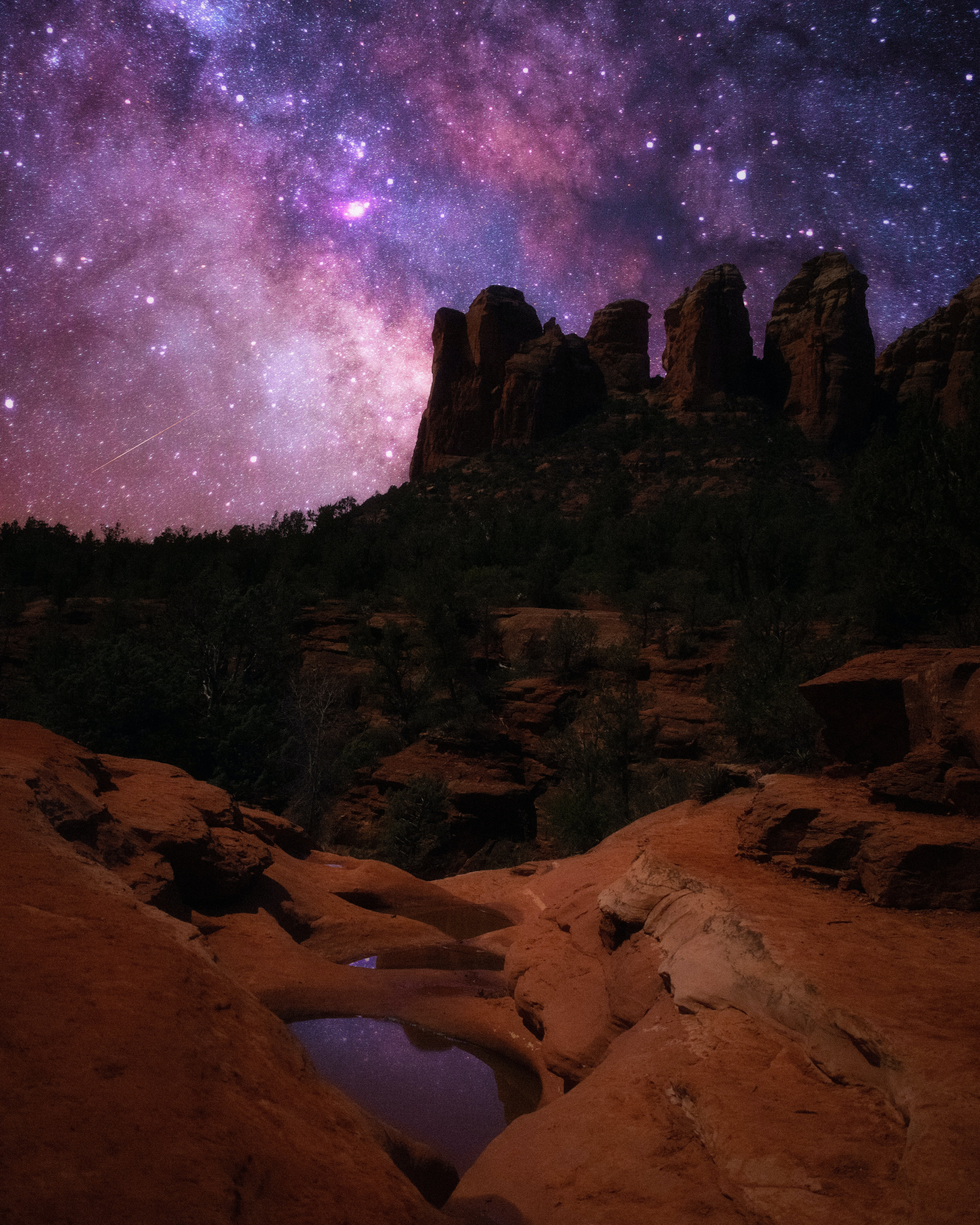 104091 download wallpaper Nature, Rocks, Canyon, Starry Sky, Night, Dark screensavers and pictures for free