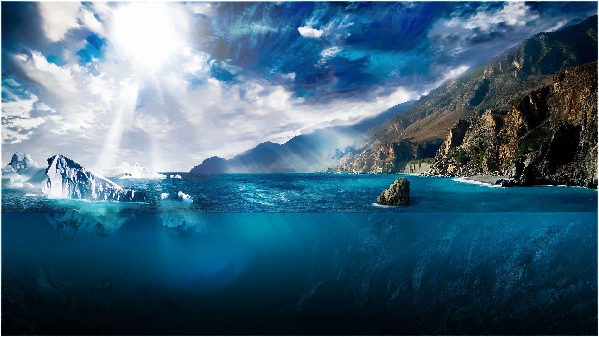 102540壁紙のダウンロード自然, 輝く, 光, ビーム, 光線, 海, 海洋, 大洋, 流氷, 氷, 水, 深さ, 切開, 節, サン-スクリーンセーバーと写真を無料で