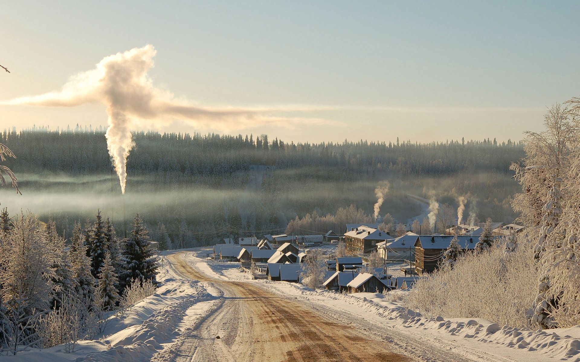 58221 Screensavers and Wallpapers Houses for phone. Download Nature, Road, Winter, Houses, Countryside, Country, Village, Firebox, Furnace, Smoke pictures for free