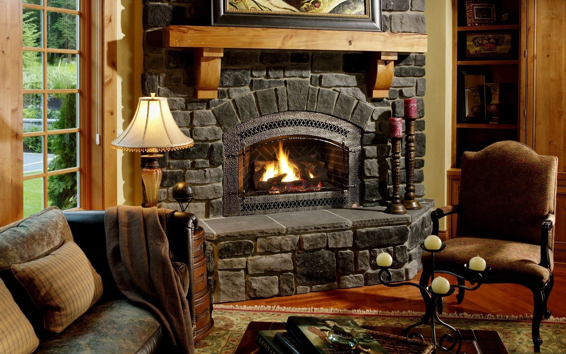 75688壁紙のダウンロードその他, 雑, 暖炉, 椅子, アームチェア, 居心地のよさ, 安楽, イブニング, 夕方, 居心地の良い雰囲気-スクリーンセーバーと写真を無料で