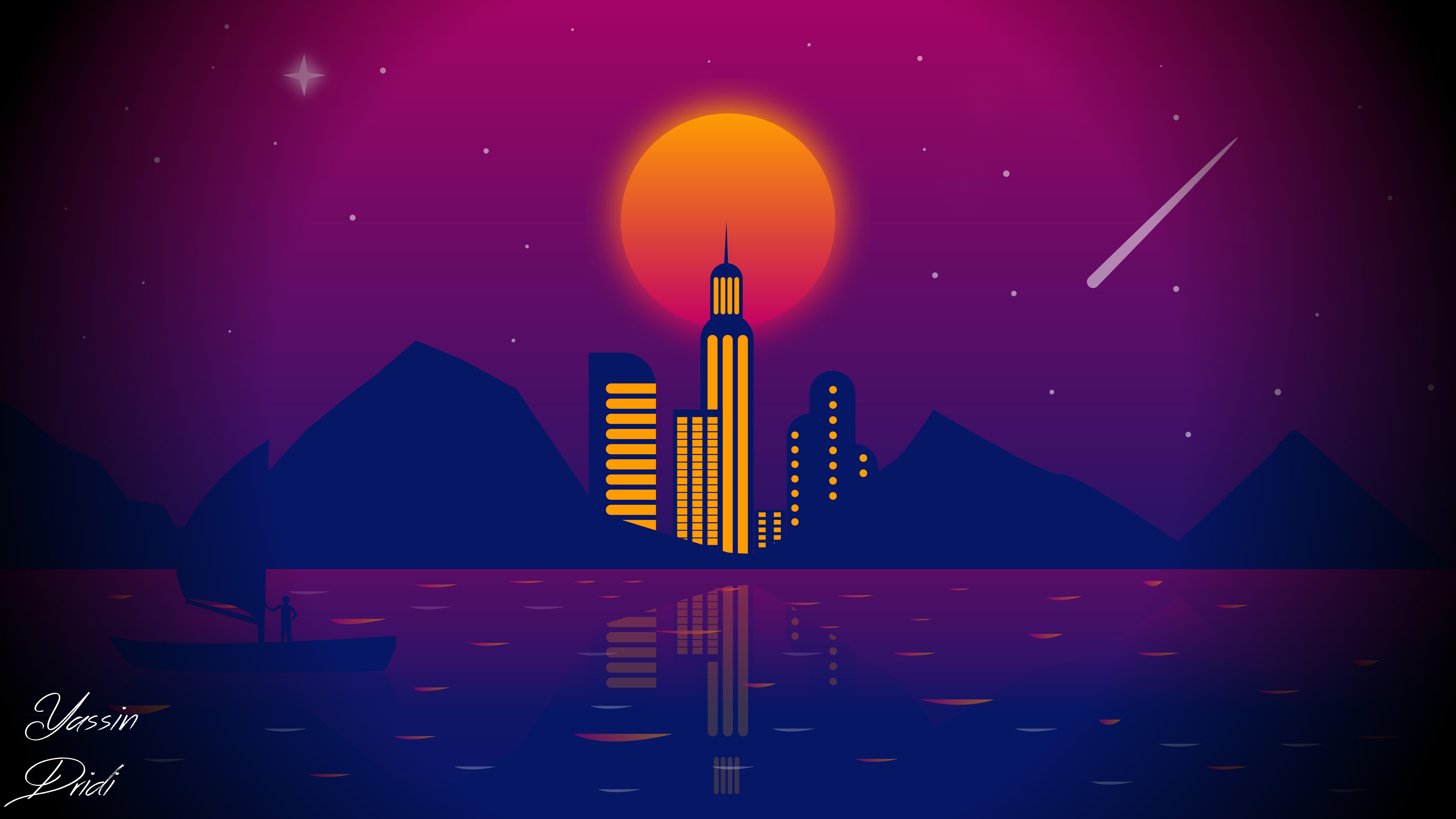 63372 завантажити шпалери Вектор, Арт, Ніч, Місяць, Місто - заставки і картинки безкоштовно