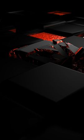 137697 завантажити шпалери 3D, Об'ємний Об'ємний, Куб, Вогонь, Темний, Світло, Світлий, Сплав - заставки і картинки безкоштовно
