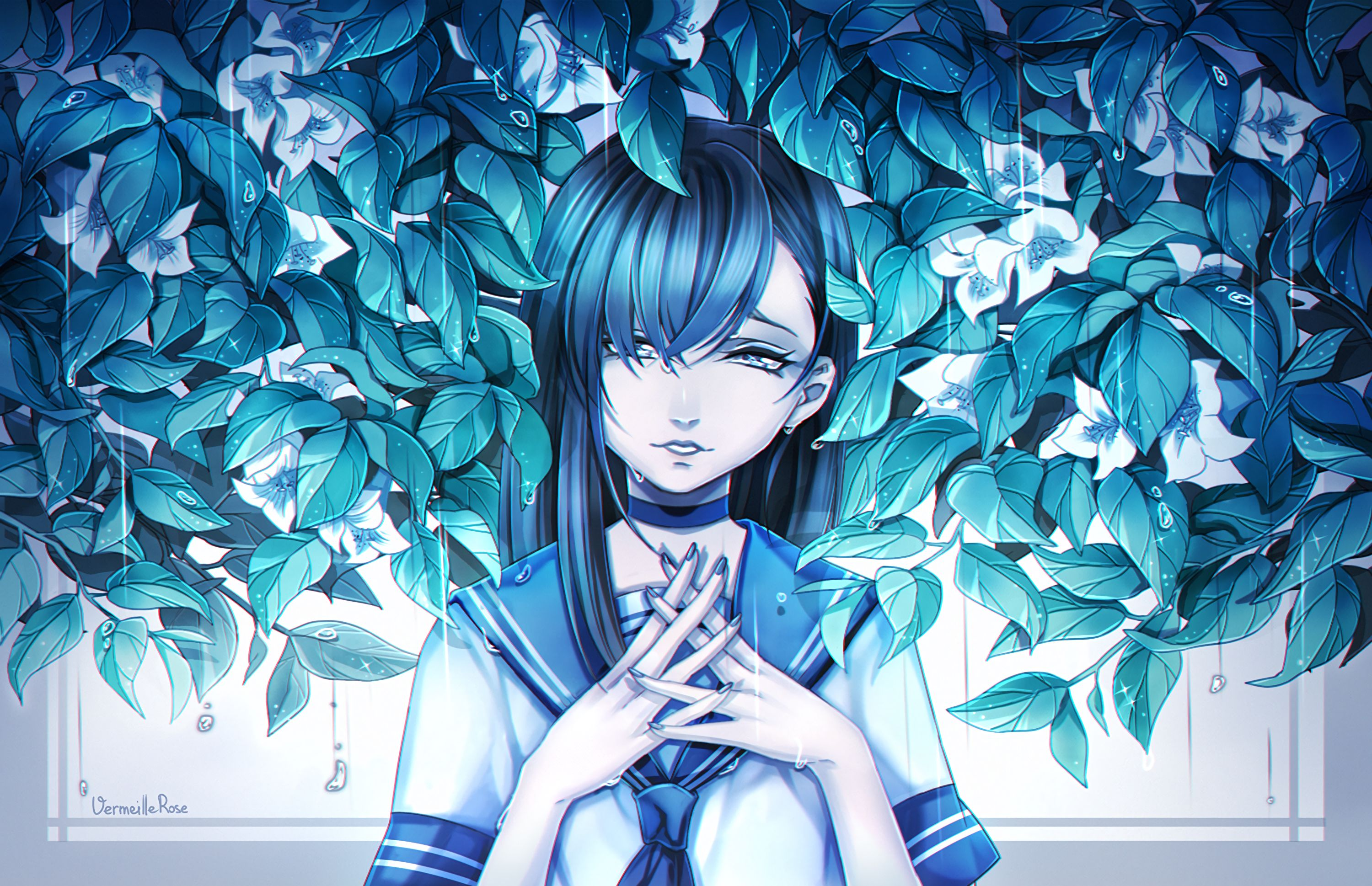 153026 download wallpaper Anime, Girl, Animeshka, Sadness, Sorrow, Leaves, Art screensavers and pictures for free