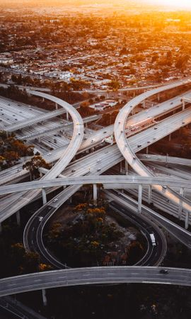 54886 Screensavers and Wallpapers Roads for phone. Download Transport Interchange, Interchange, Roads, Branching, Ramification, Sunset, City, Los Angeles, Cities pictures for free