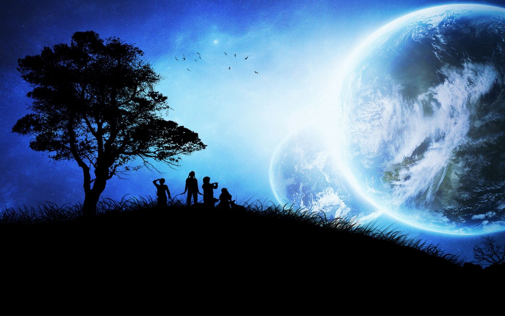 103297 Screensavers and Wallpapers Children for phone. Download Fantasy, Children, Wood, Tree, Silhouettes, Planets, Birds pictures for free
