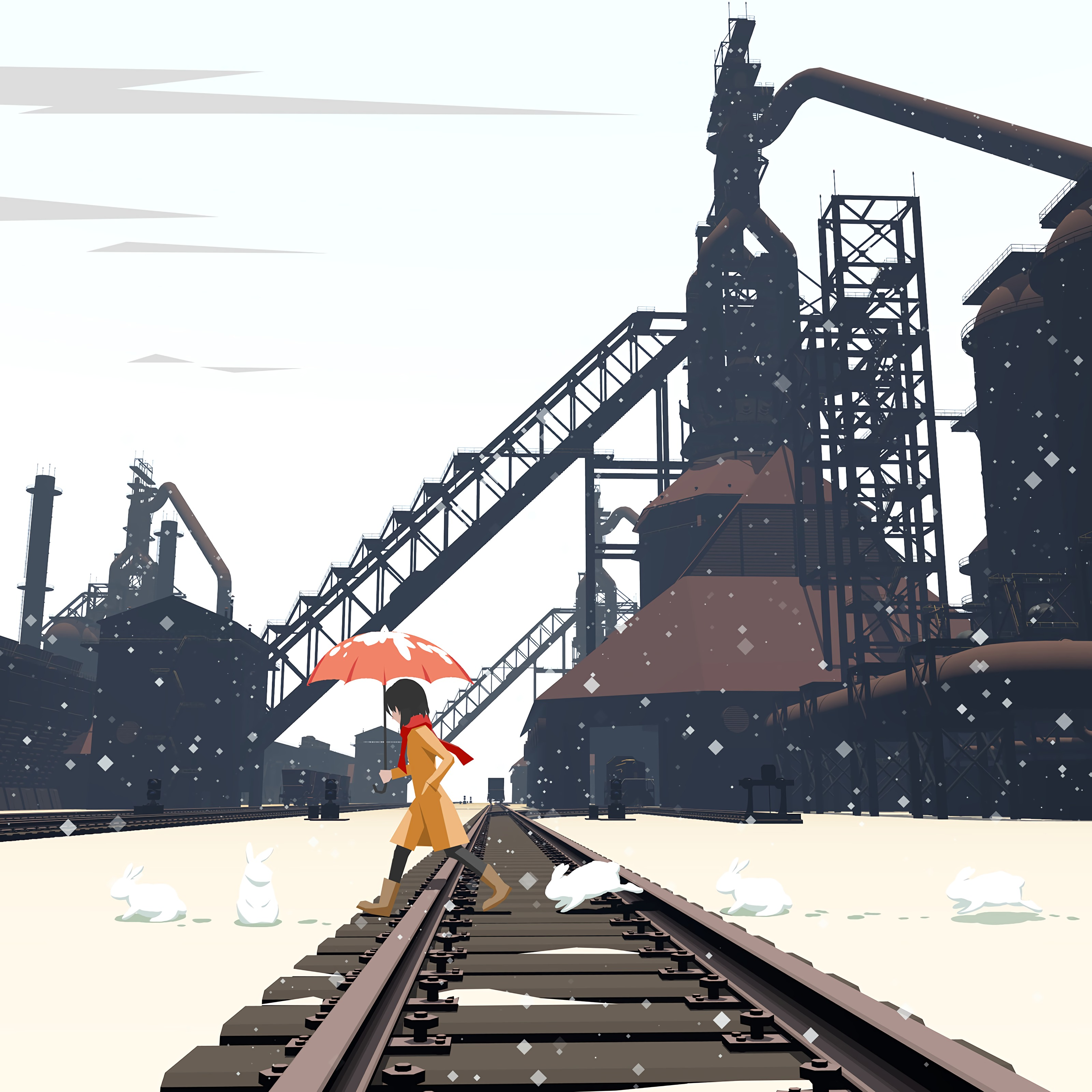 120341 download wallpaper Art, Rabbits, Girl, Railway screensavers and pictures for free