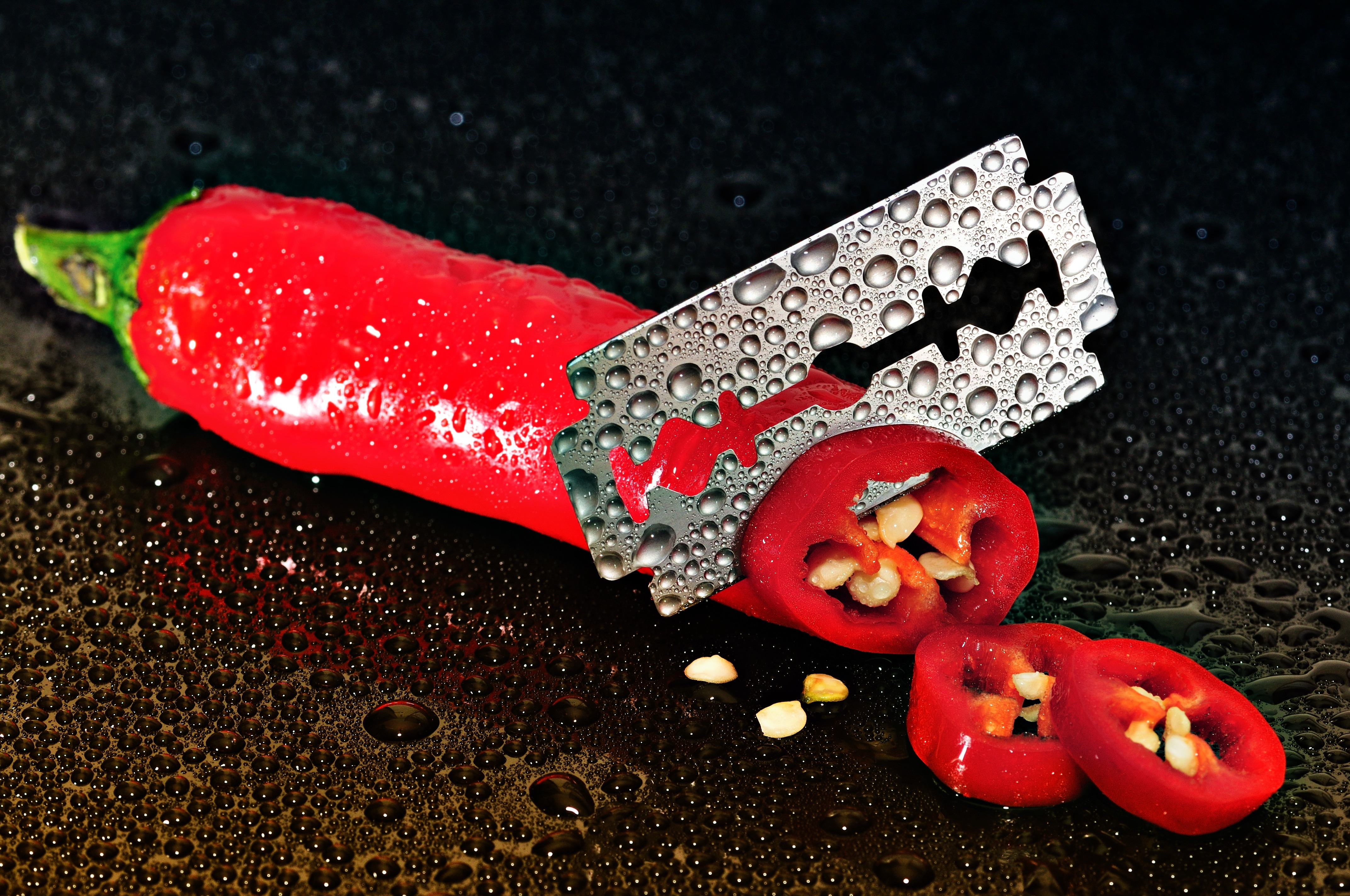127040 download wallpaper Food, Chile, Blades, Blade, Drops, Pepper screensavers and pictures for free