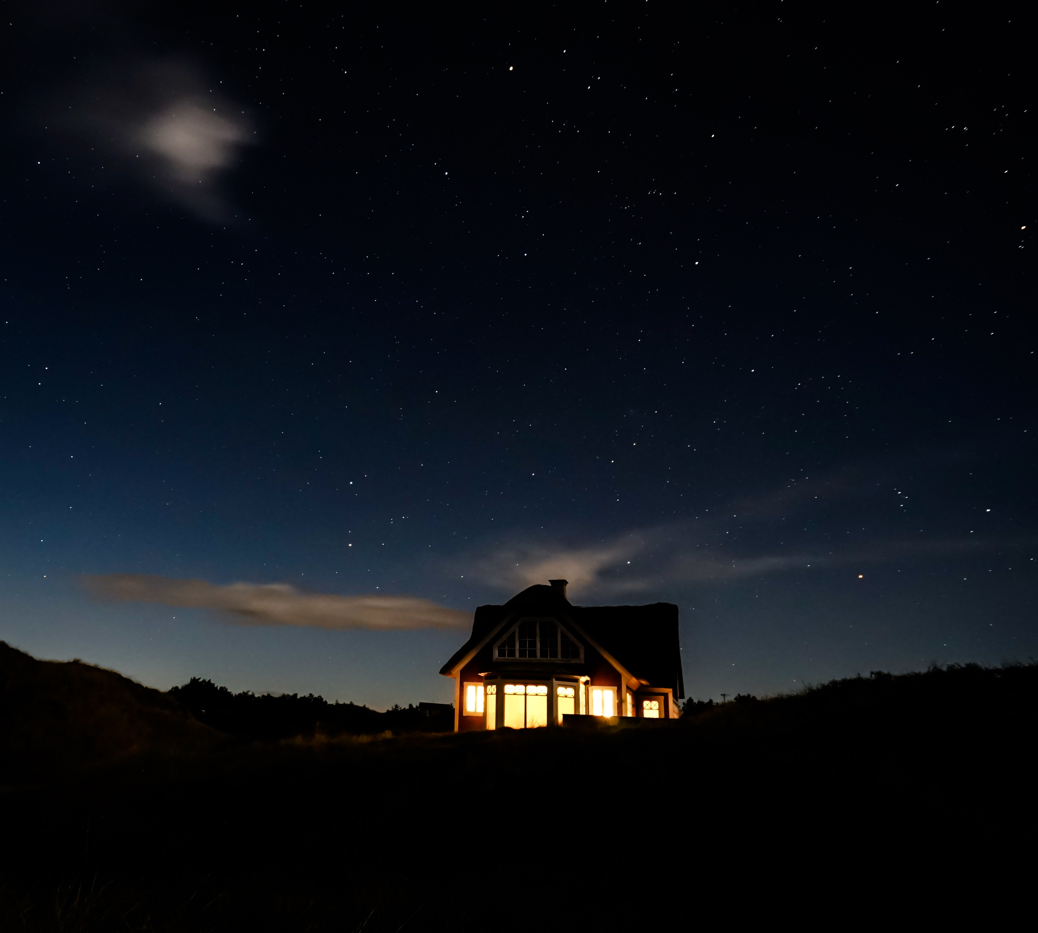 109428 download wallpaper Night, Dark, Shine, Light, Starry Sky, House, Coziness, Comfort, Calmness, Tranquillity screensavers and pictures for free