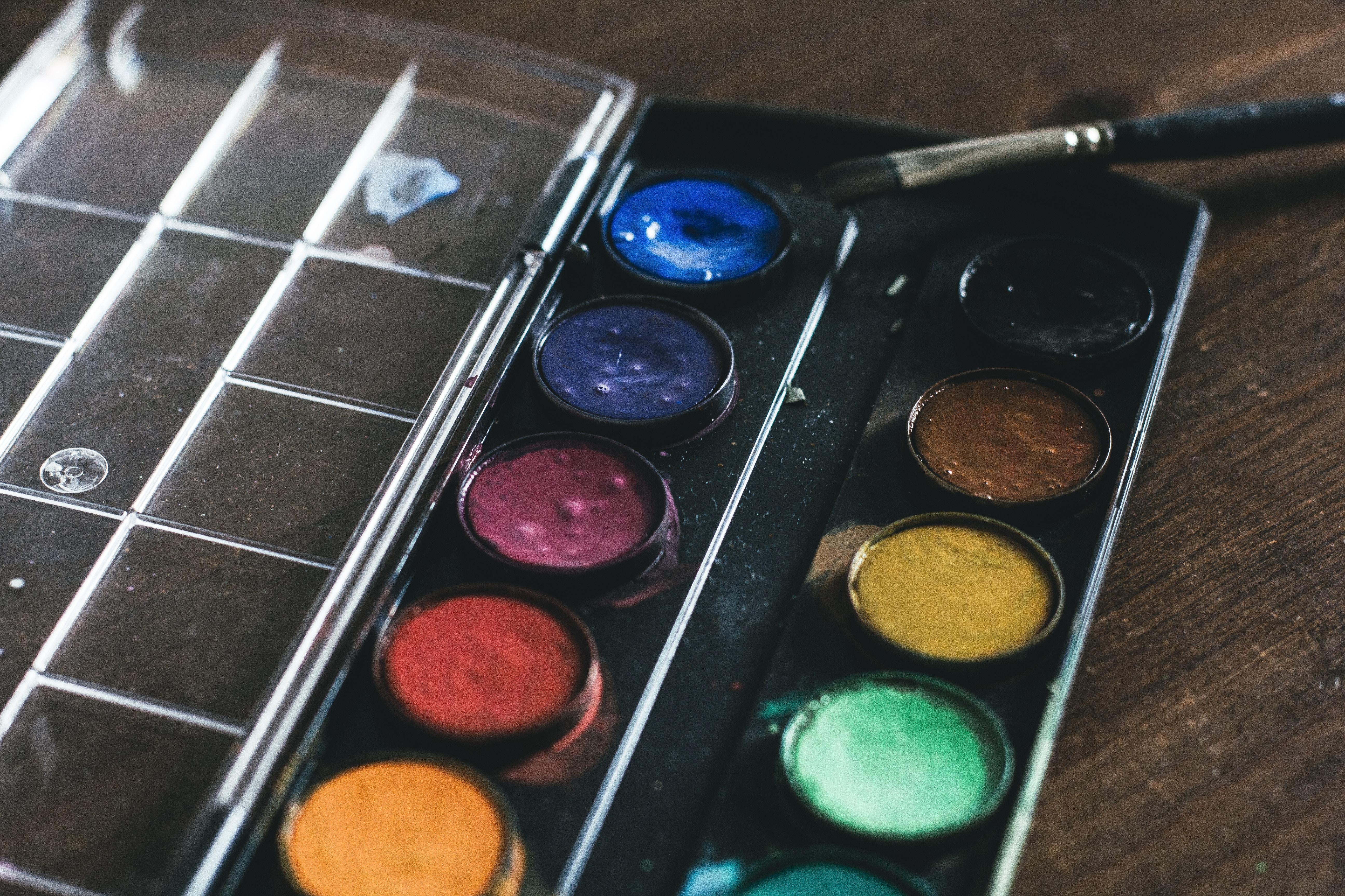 119250 Hintergrundbild herunterladen Künstler, Verschiedenes, Sonstige, Farben, Bürste, Palette, Quaste - Bildschirmschoner und Bilder kostenlos