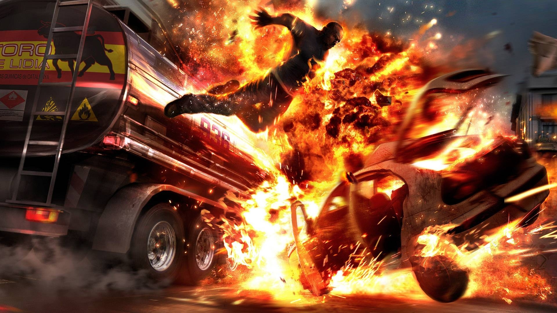 1122 download wallpaper Auto, Fantasy, Art, Fire, Explosions screensavers and pictures for free