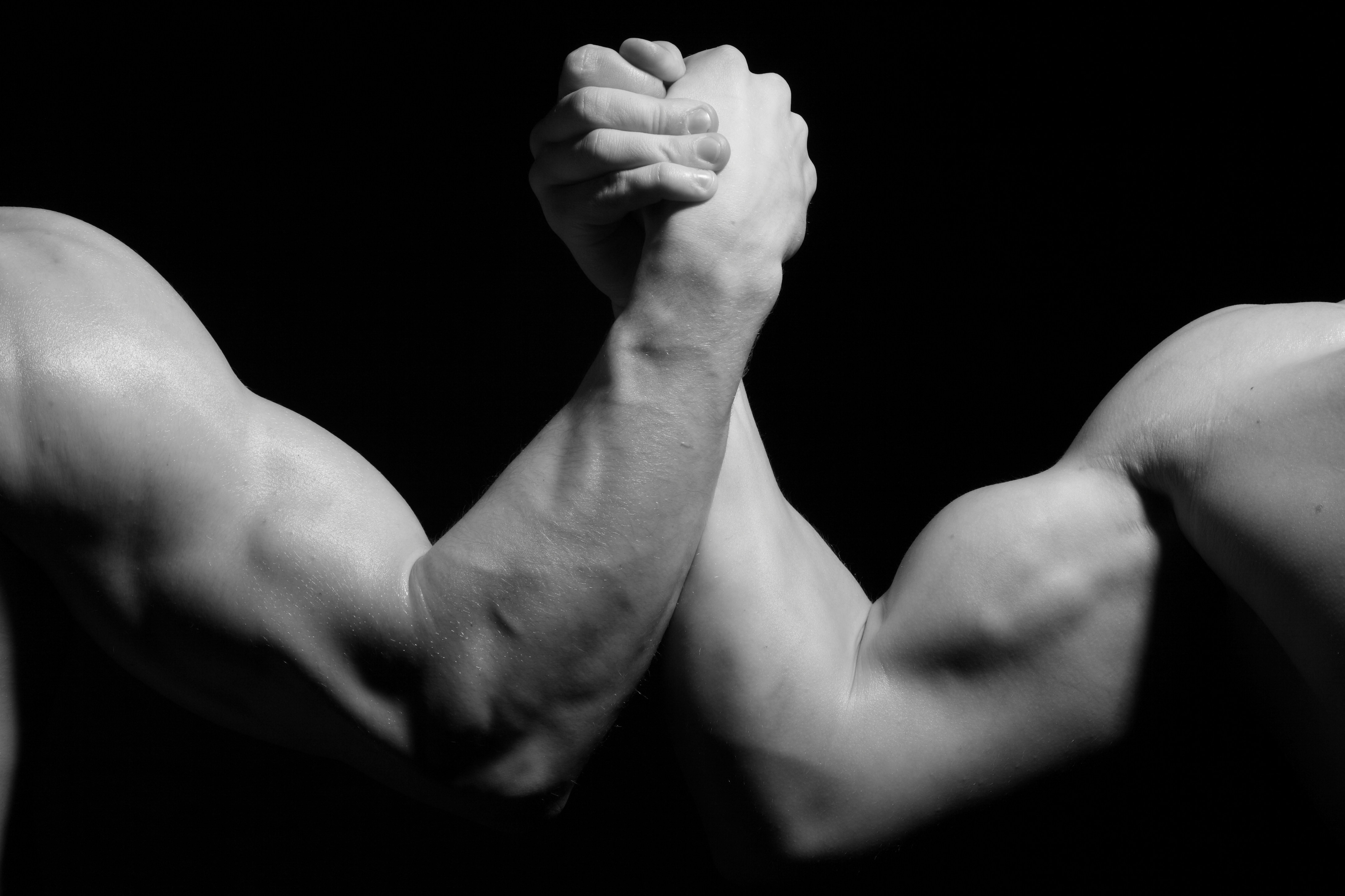 154044 download wallpaper Men, Sports, Hands, Fight, Black And White, Struggle, Biceps, Arm Wrestling screensavers and pictures for free