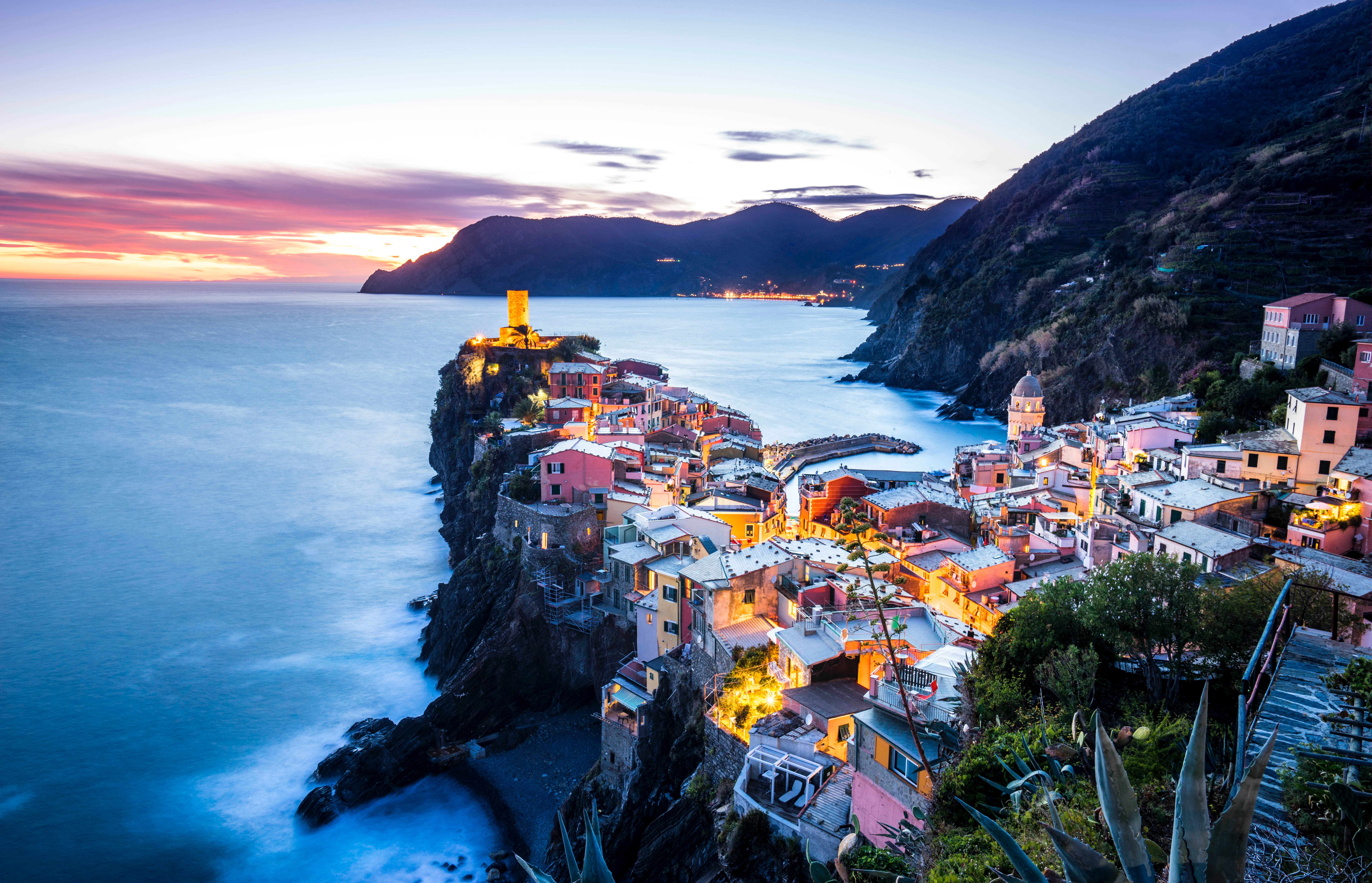 122842 Screensavers and Wallpapers Cities for phone. Download Italy, Mountains, Cities, Sea, Coast, Vernazza, Coastal City, Coastal Town pictures for free