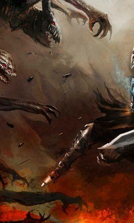 26569 télécharger le fond d'écran Fantaisie, Swords, Hommes, Demons - économiseurs d'écran et images gratuitement