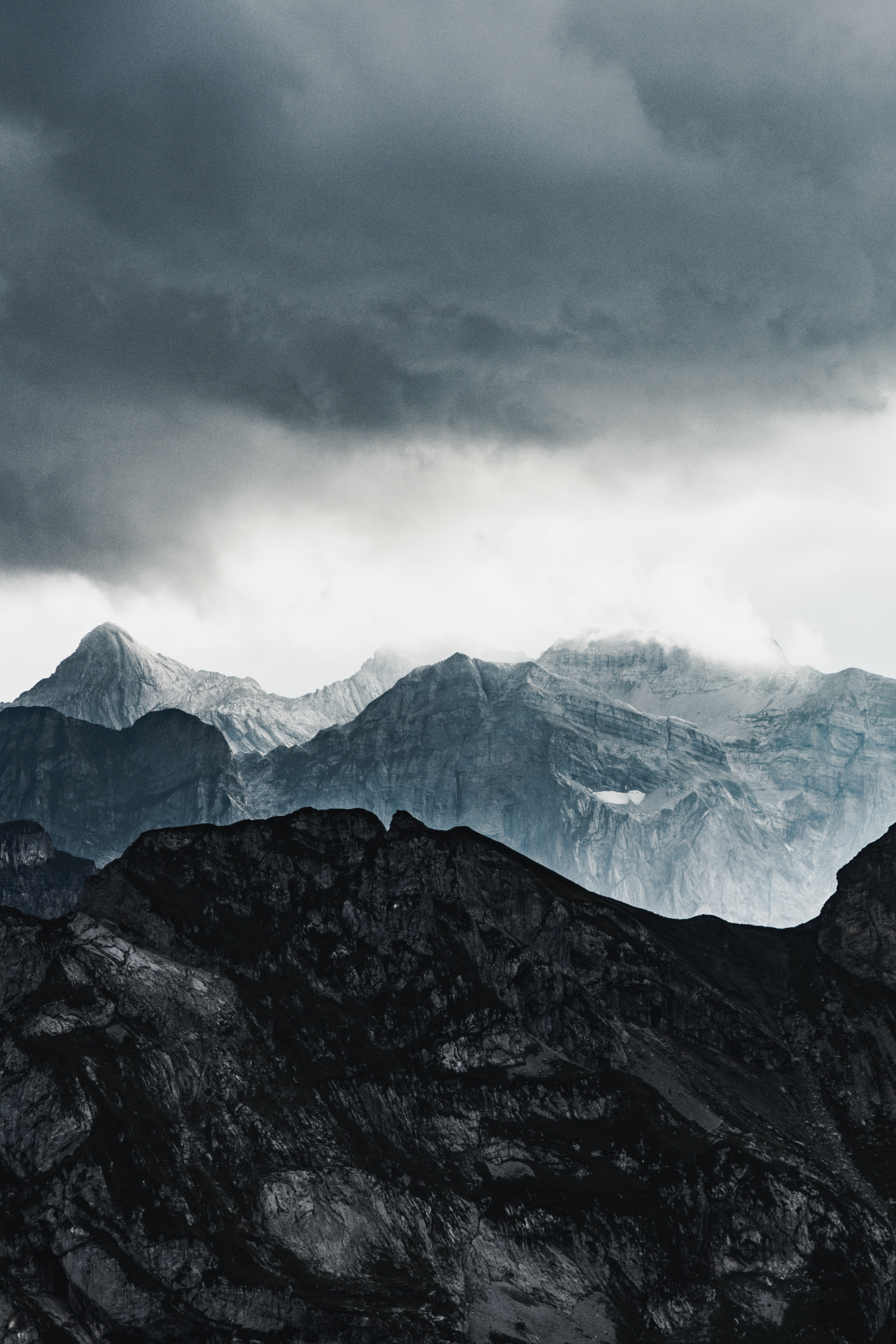 101171 download wallpaper Nature, Rocks, Relief, Snow Covered, Snowbound, Clouds, Mountains screensavers and pictures for free