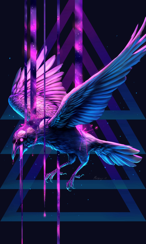 141850 скачать обои Арт, Краска, Птица, Фантастический, Ворон, Треугольник - заставки и картинки бесплатно