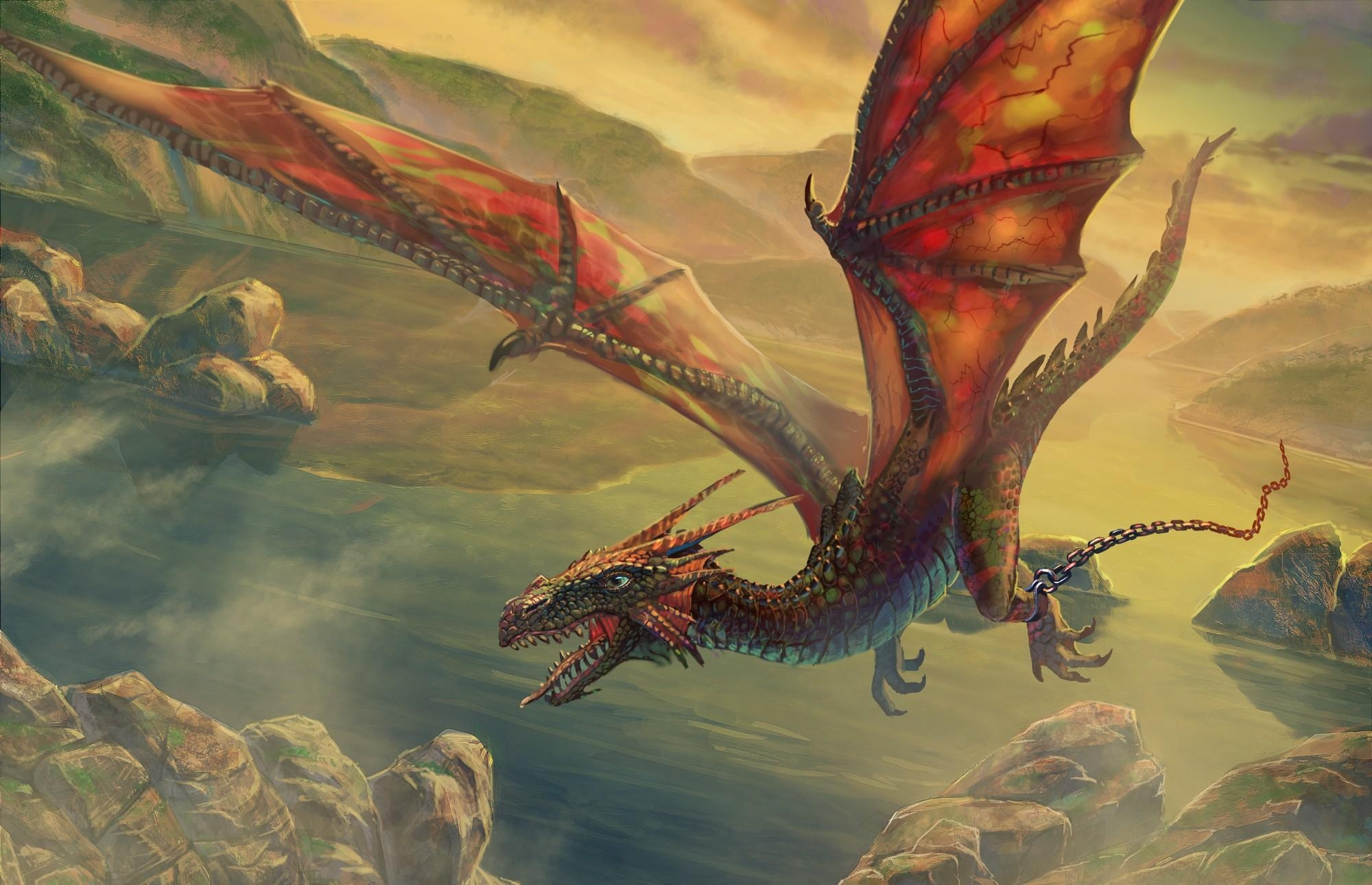 110361 download wallpaper Fantasy, Dragon, Flight, Chain, Rocks screensavers and pictures for free