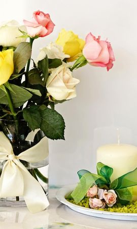 156856 завантажити шпалери Квіти, Букет, Ваза, Свічки, Композиція, Склад, Рози - заставки і картинки безкоштовно
