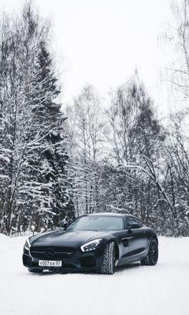100016 télécharger le fond d'écran Voitures, Mercedes-Benz, Mercedes, Le Noir, Neige, Forêt - économiseurs d'écran et images gratuitement