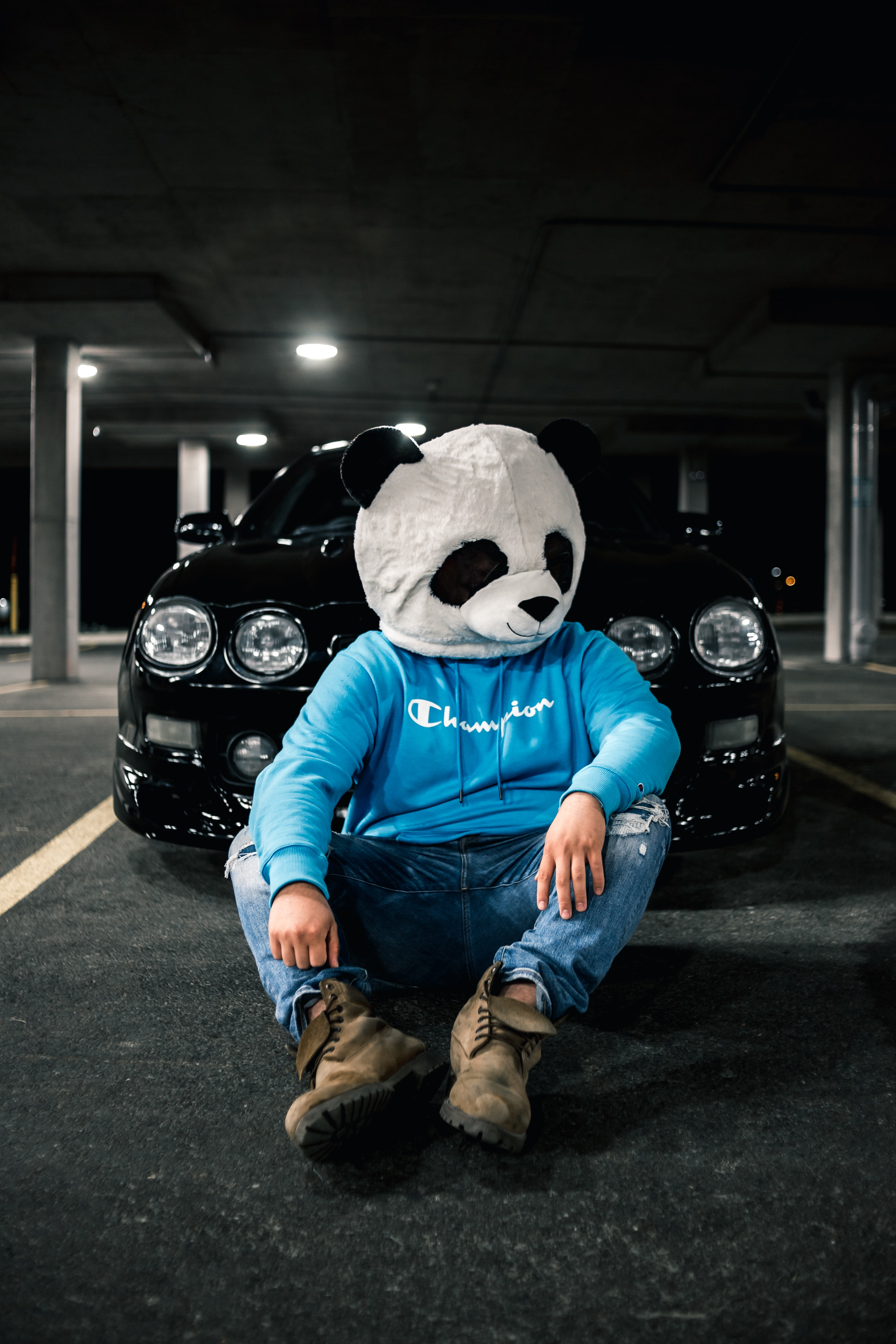 149089 download wallpaper Miscellanea, Miscellaneous, Human, Person, Mask, Panda, Car screensavers and pictures for free