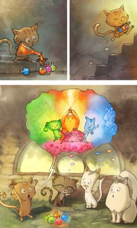 お使いの携帯電話の146013スクリーンセーバーと壁紙漫画。 猫, 漫画, アート, マジック, 魔法の写真を無料でダウンロード