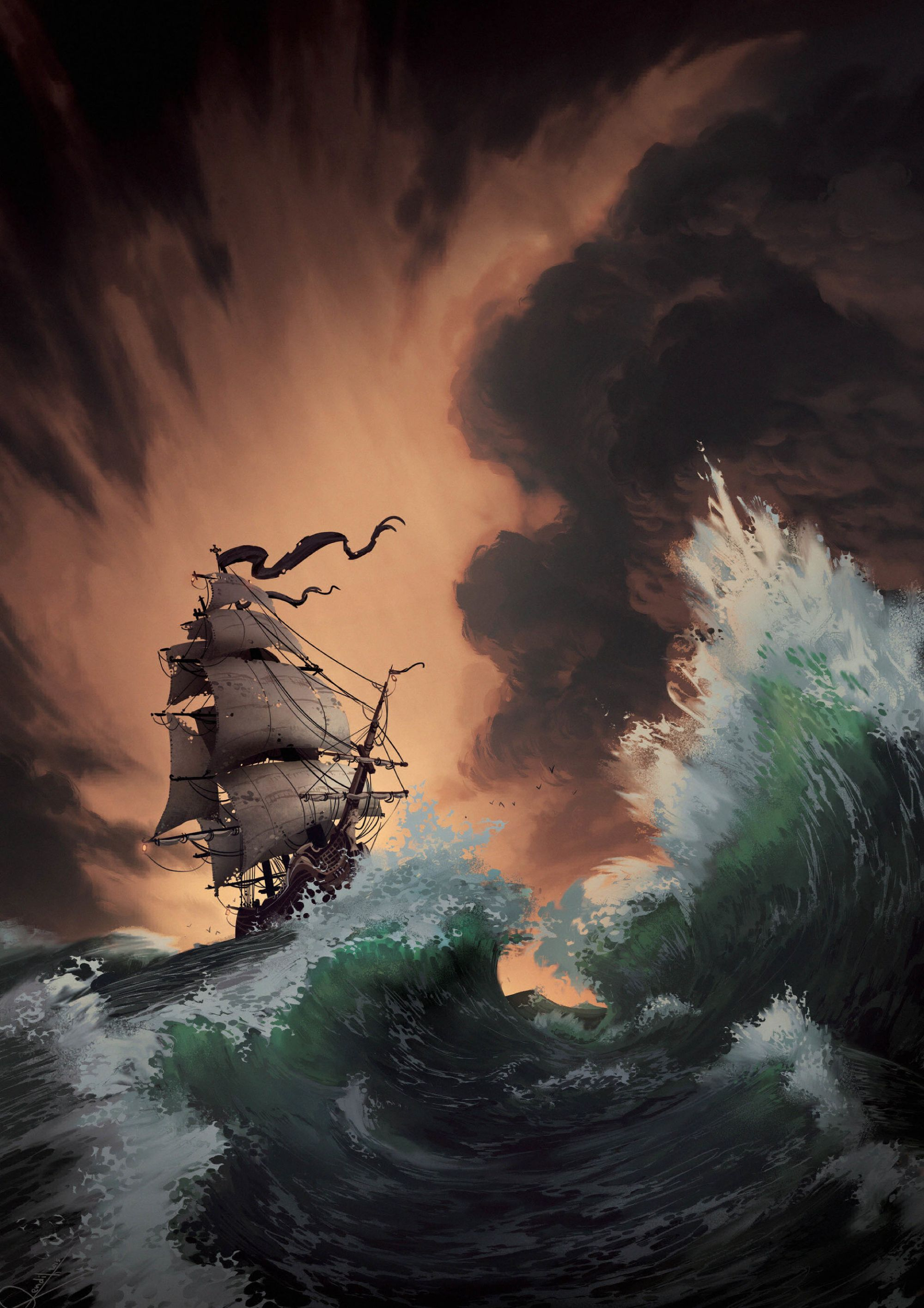 72374 Заставки и Обои Волны на телефон. Скачать Шторм, Корабль, Море, Арт, Волны картинки бесплатно
