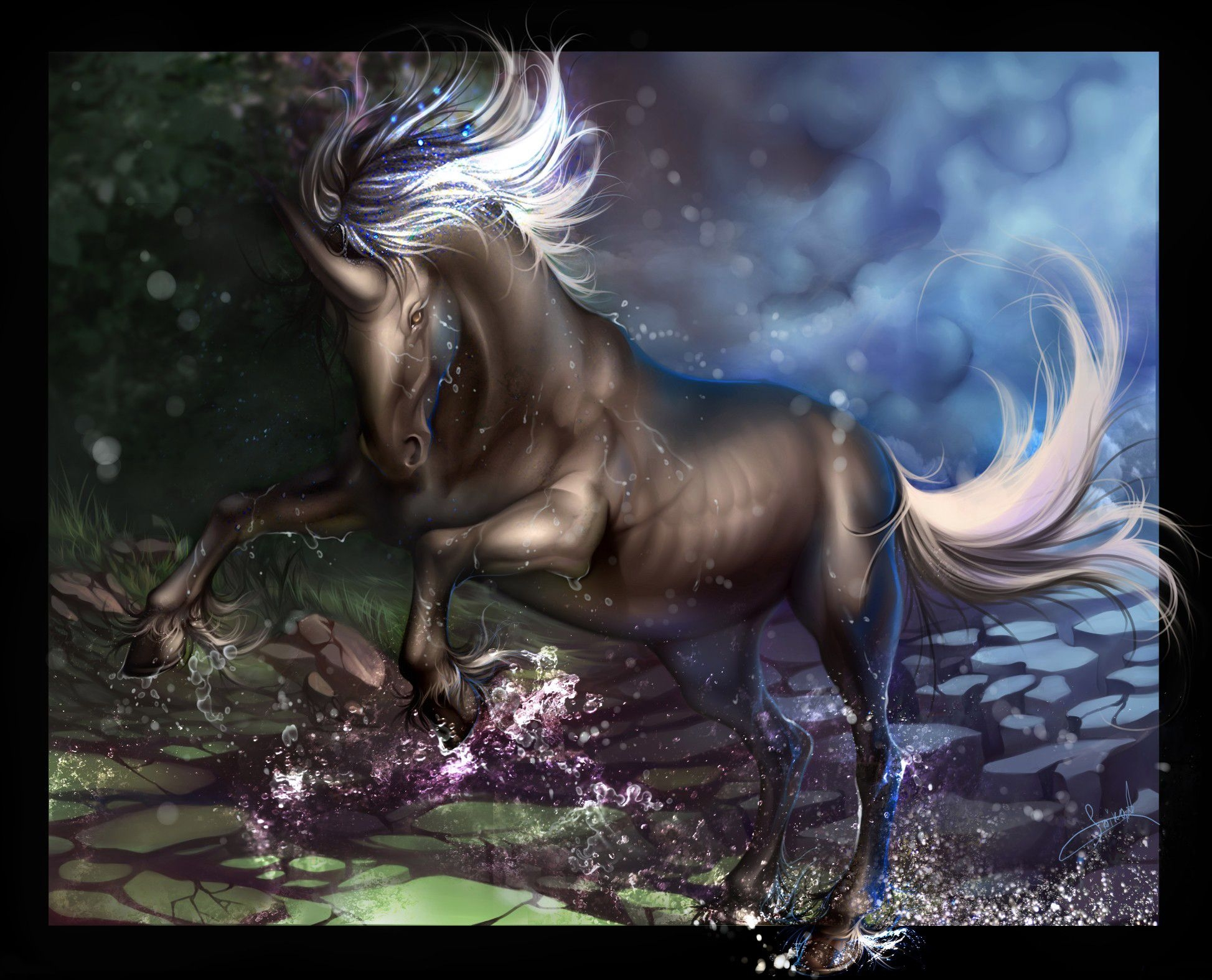 70662 Screensavers and Wallpapers Unicorn for phone. Download Water, Fantasy, Spray, Unicorn, Hooves, Hoof pictures for free