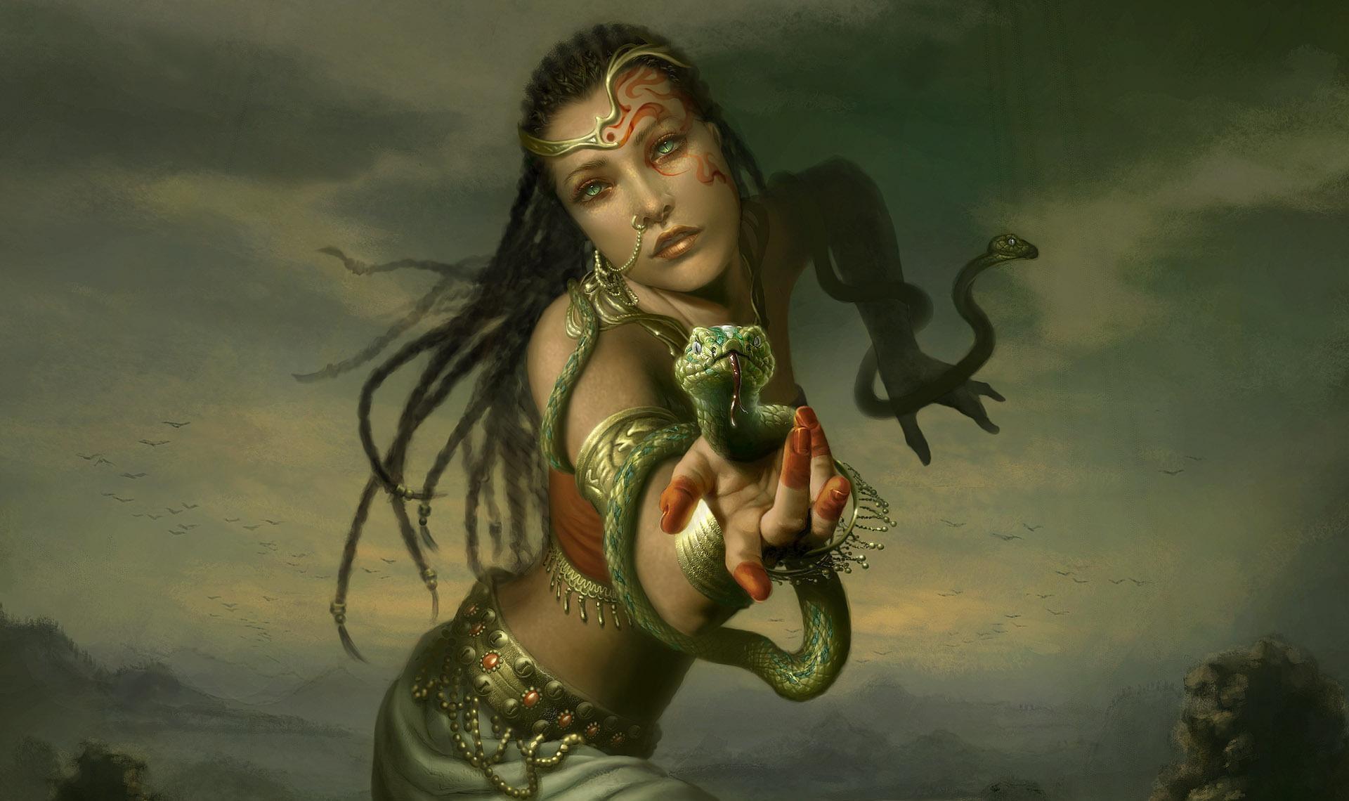 127771 скачать обои Фэнтези, Змеи, Украшения, Рука, Девушка, Косички - заставки и картинки бесплатно
