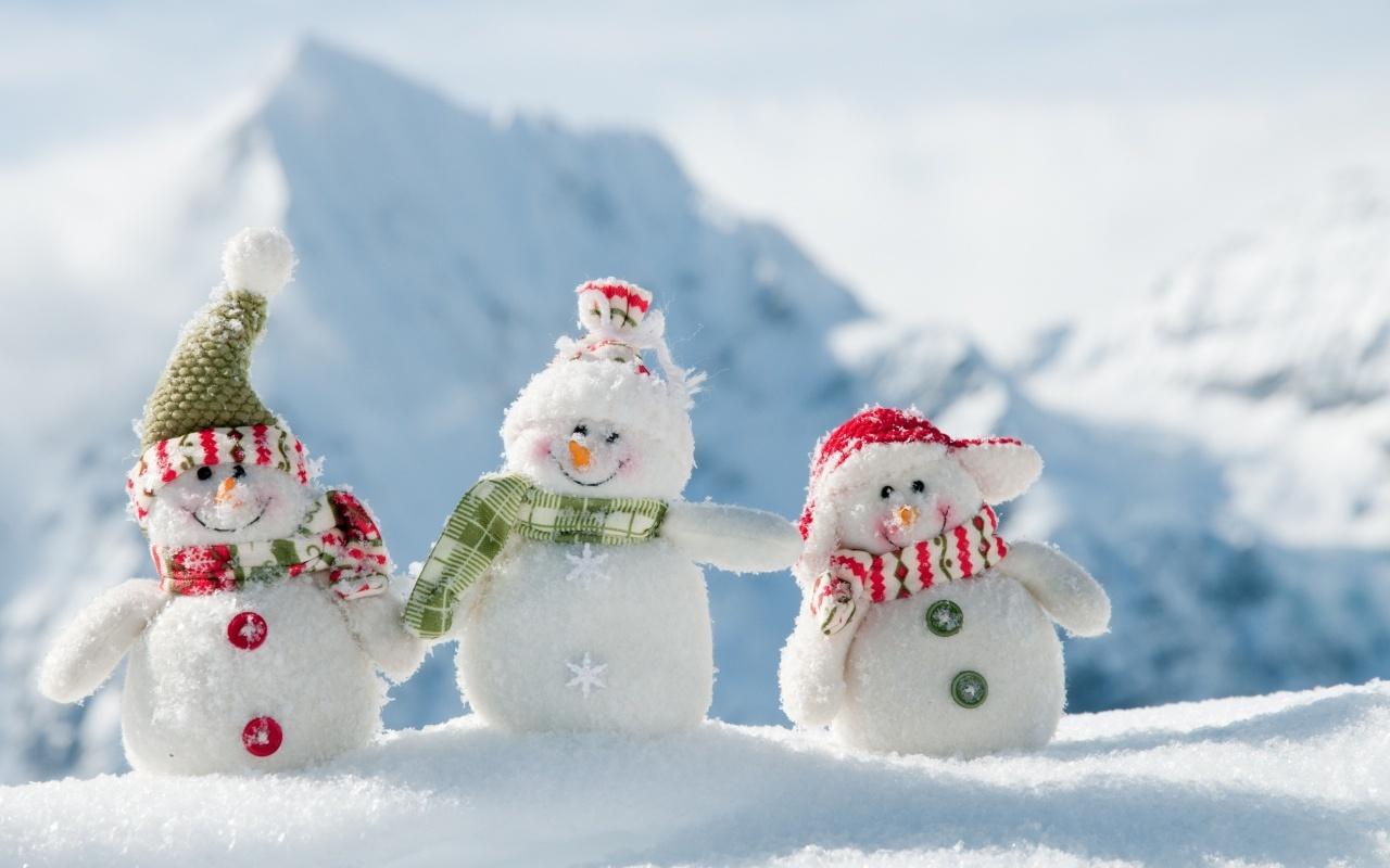 19747 Hintergrundbild herunterladen Landschaft, Winterreifen, Spielzeug, Schnee, Schneemann - Bildschirmschoner und Bilder kostenlos