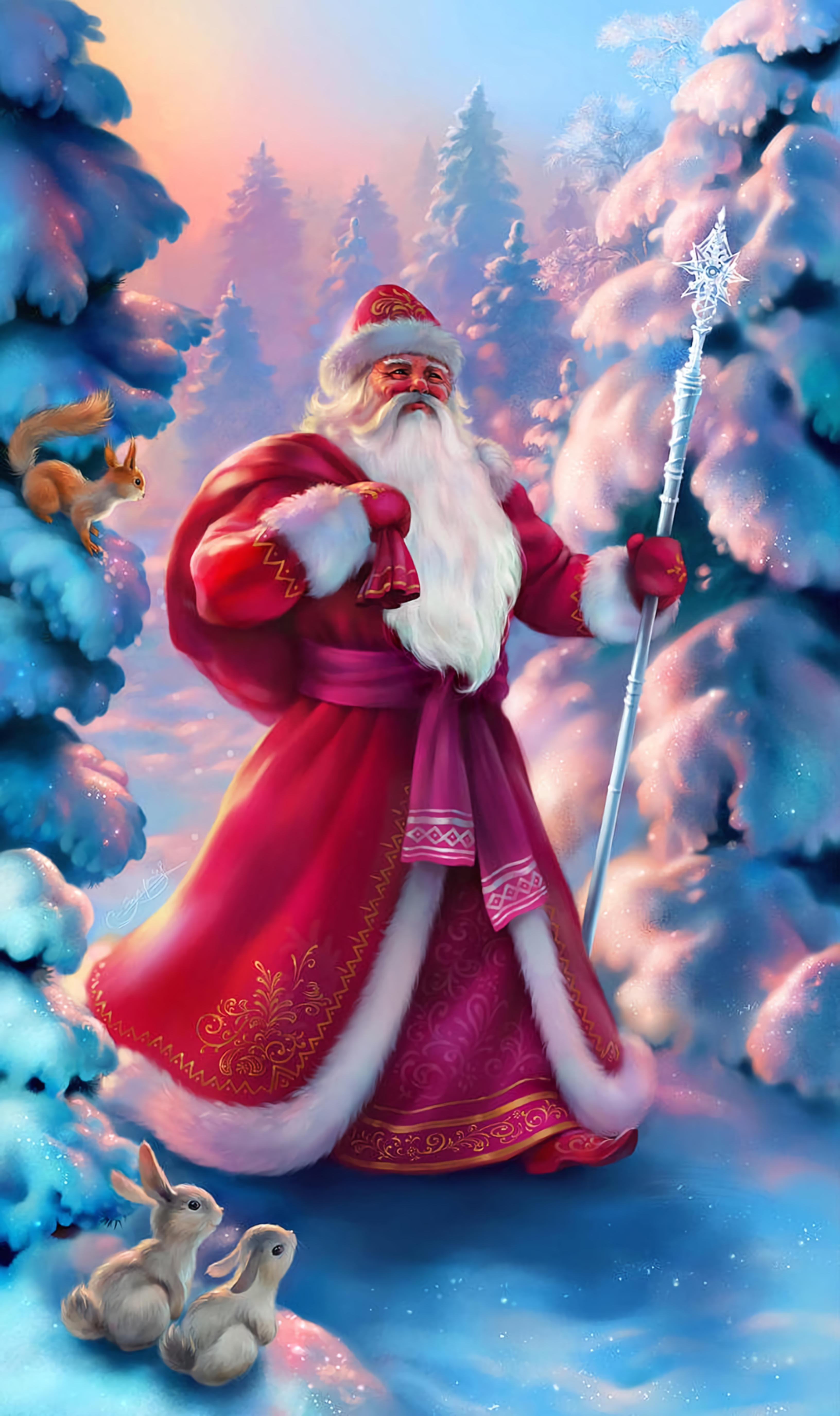 85509 скачать обои Зима, Праздники, Новый Год, Дед Мороз, Лес, Сказочный - заставки и картинки бесплатно