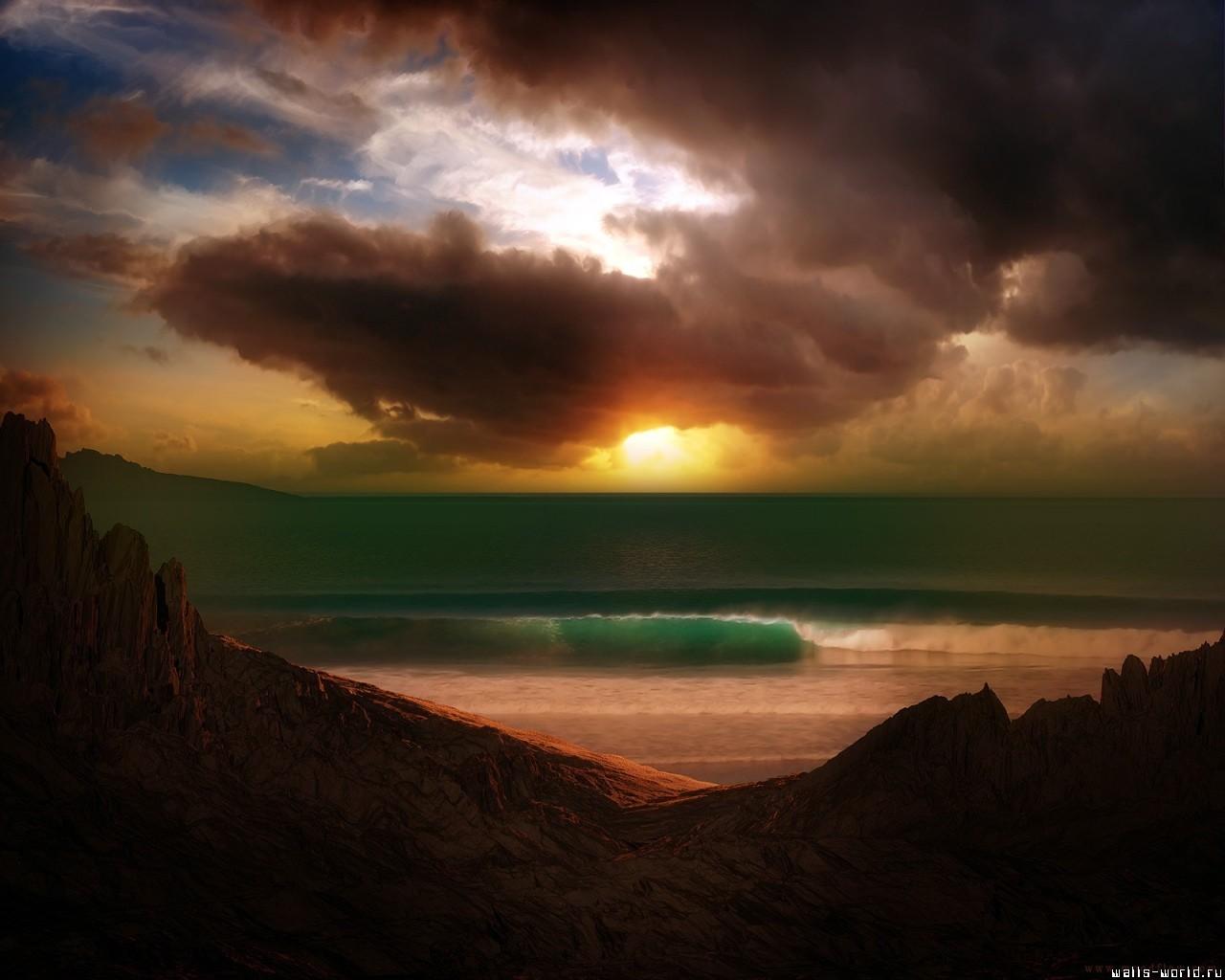 11084 скачать обои Пейзаж, Небо, Море, Солнце, Облака, Пляж - заставки и картинки бесплатно