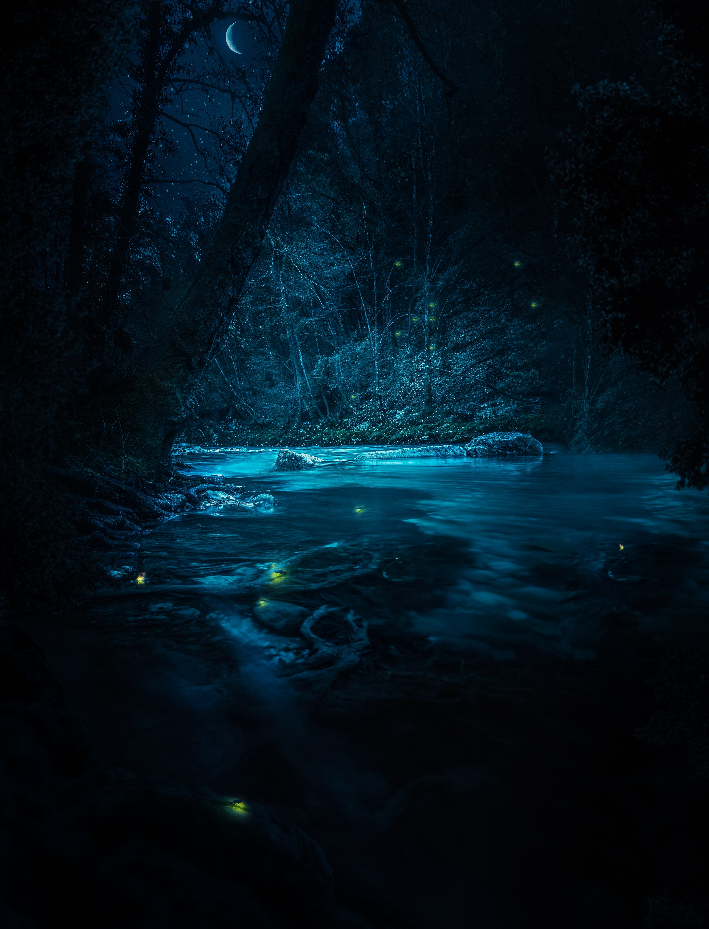 102623 download wallpaper Light, Nature, Rivers, Trees, Stones, Night, Shine screensavers and pictures for free