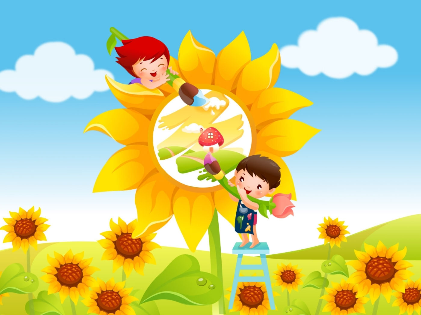 26890 download wallpaper Flowers, Sunflowers, Children, Pictures screensavers and pictures for free