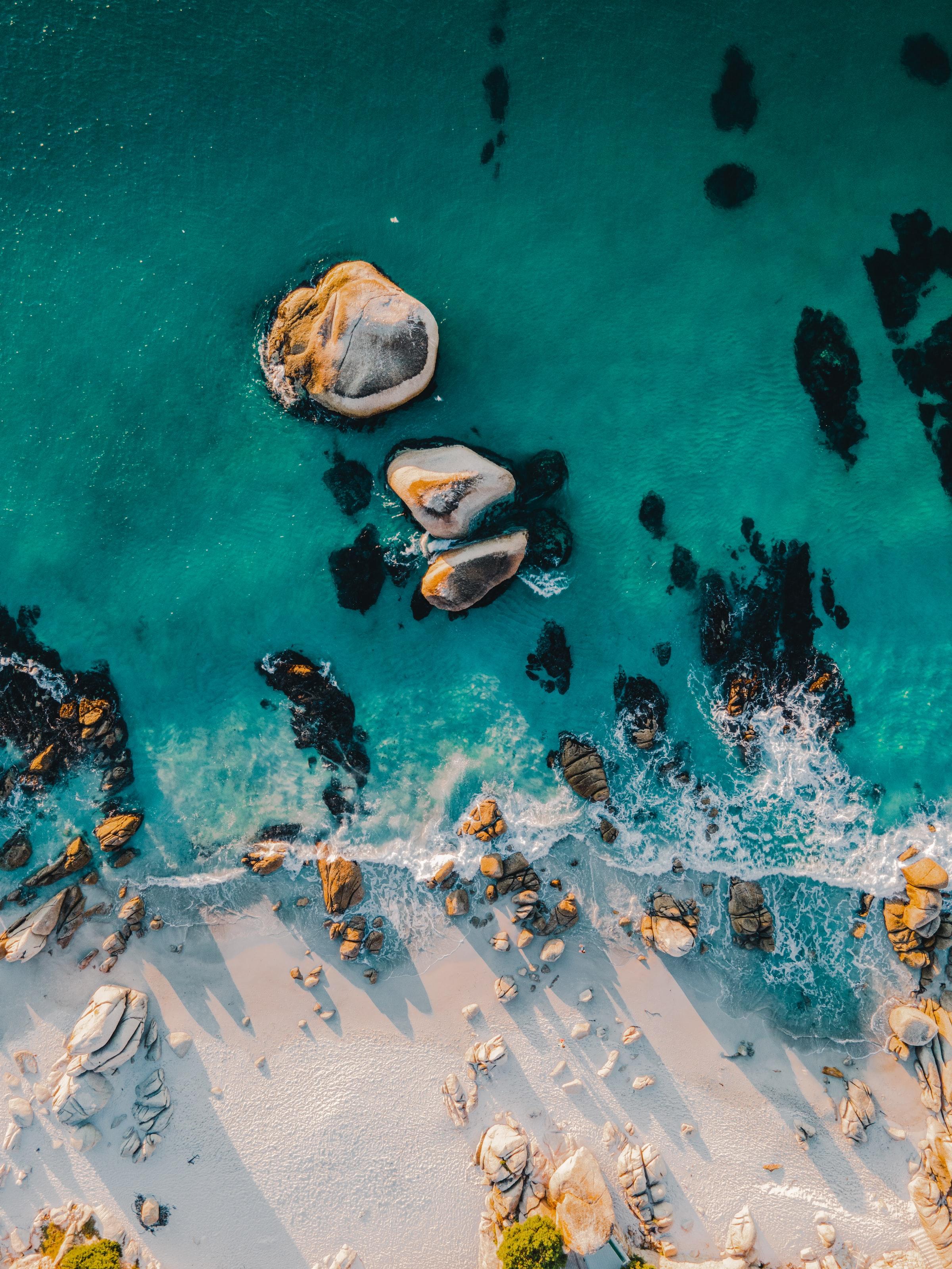 54943 descargar fondo de pantalla Mar, Naturaleza, Agua, Stones, Playa, Vista Desde Arriba: protectores de pantalla e imágenes gratis