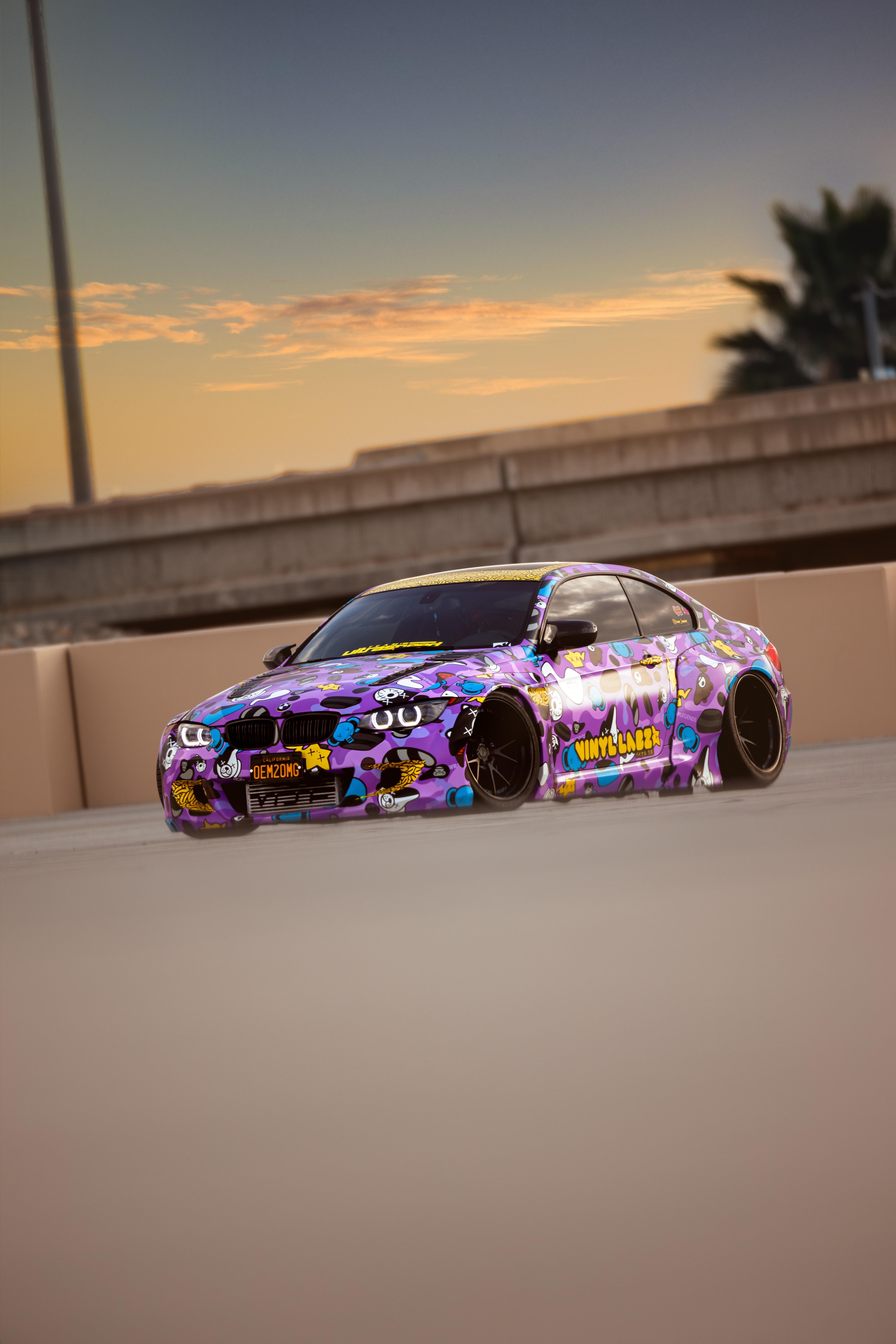 129463 скачать обои Бмв (Bmw), Дрифт, Тачки (Cars), Автомобиль, Фиолетовый, Трасса - заставки и картинки бесплатно