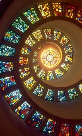 61696 télécharger le fond d'écran Abstrait, Spirale, Briller, Lumière, Vitrail, Murs-Rideaux, Fenêtres - économiseurs d'écran et images gratuitement