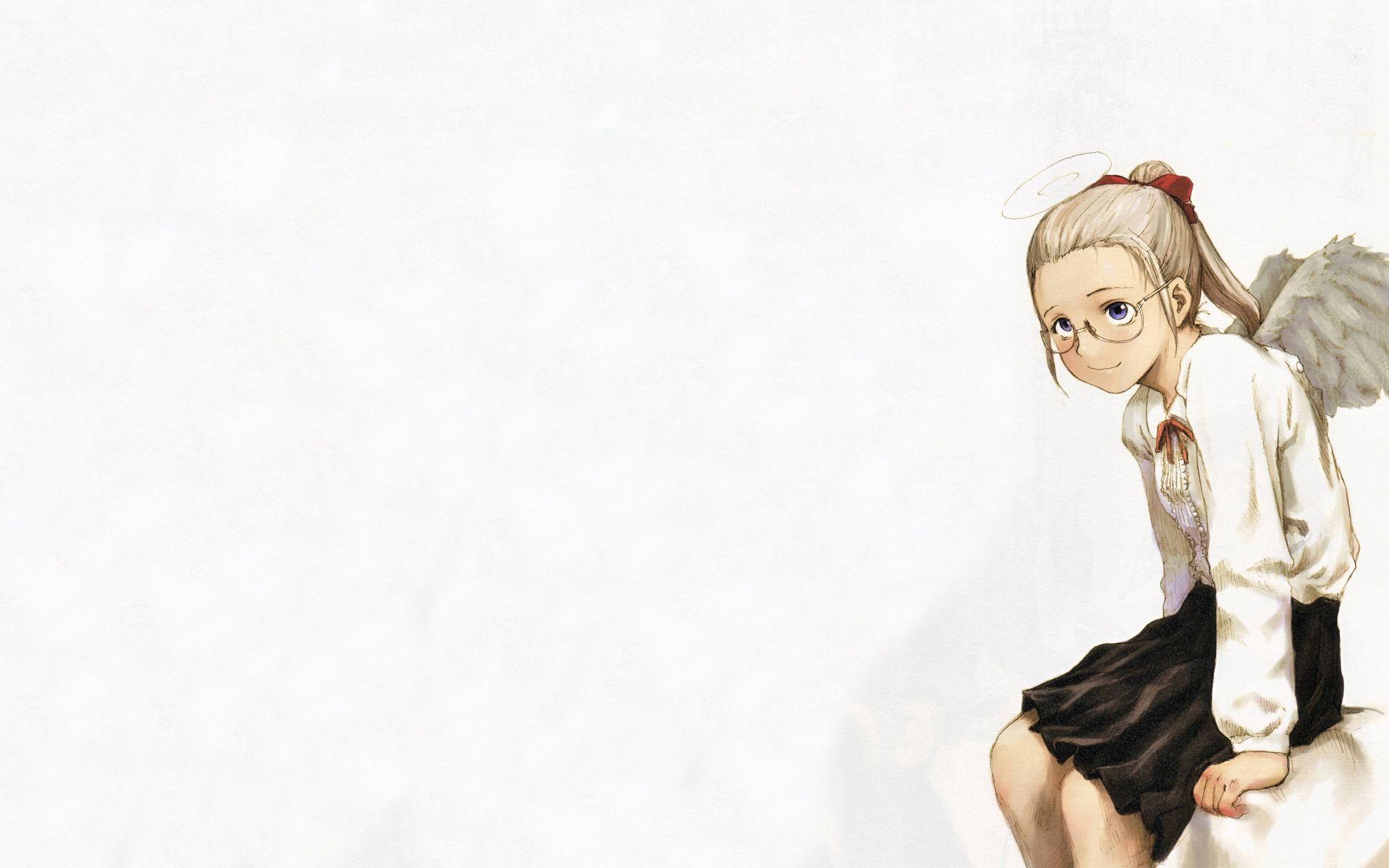 73258 скачать обои Аниме, Девочка, Милая, Очки, Крылья - заставки и картинки бесплатно