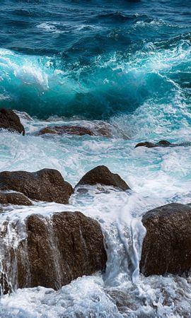 53132 скачать обои Природа, Море, Камни, Брызги, Прибой, Пена - заставки и картинки бесплатно