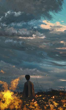 Скачать бесплатно картинку 95037: Человек, Одиночество, Поле, Огонь, Арт обои на телефон