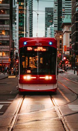 108311 скачать обои Троллейбус, Рельсы, Транспорт, Город, Городской, Города - заставки и картинки бесплатно