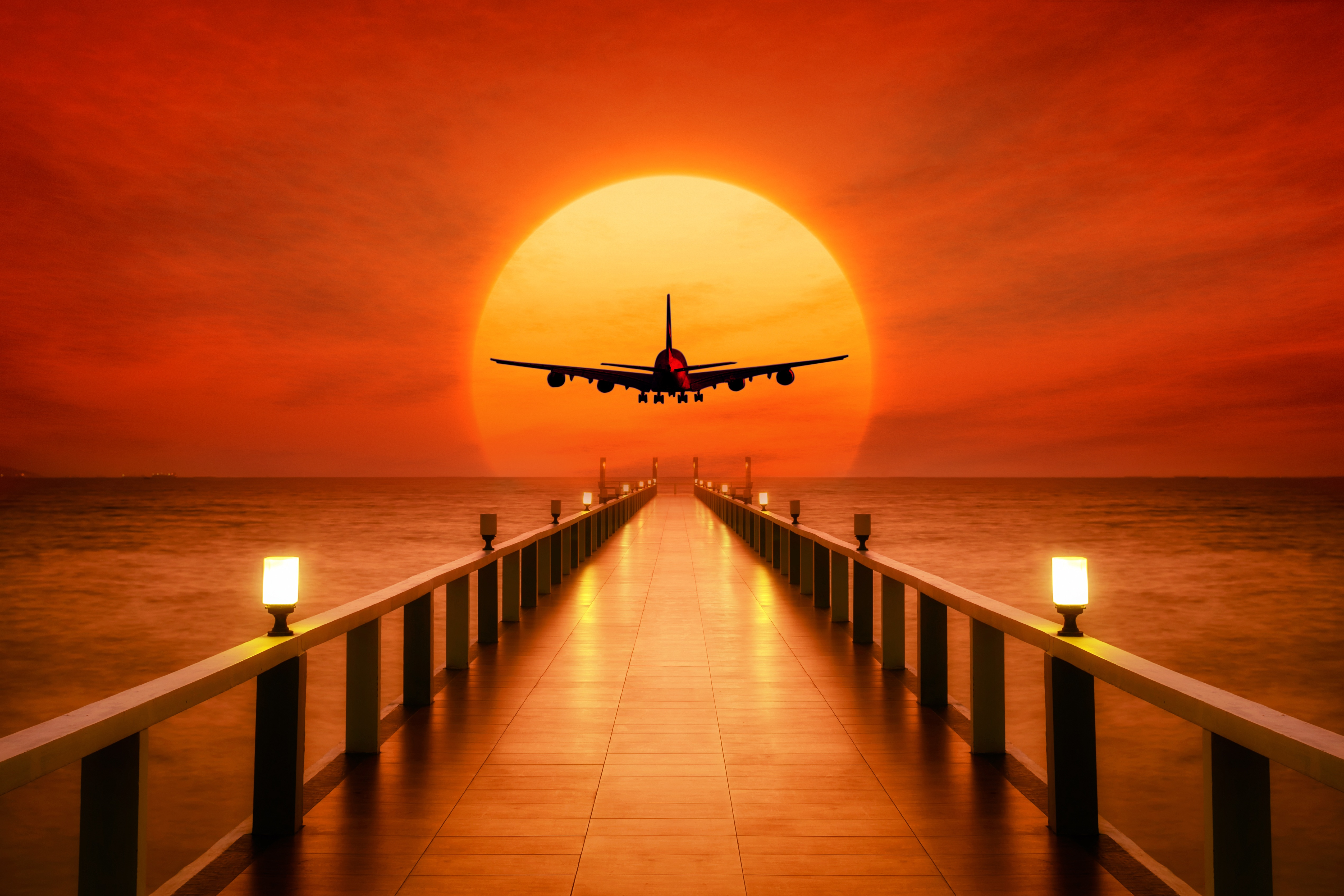 126060 Screensavers and Wallpapers Photoshop for phone. Download Sunset, Art, Plane, Airplane, Wharf, Photoshop, Berth pictures for free