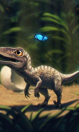 105546 descargar fondo de pantalla Dinosaurio, Mariposas, Hierba, Arte: protectores de pantalla e imágenes gratis