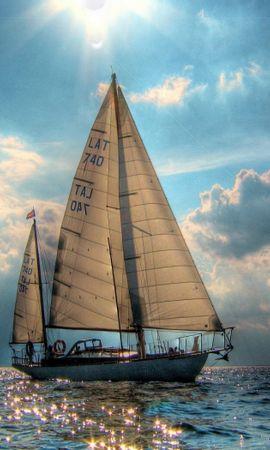 25123 скачать обои Транспорт, Пейзаж, Море, Солнце, Облака, Яхты - заставки и картинки бесплатно