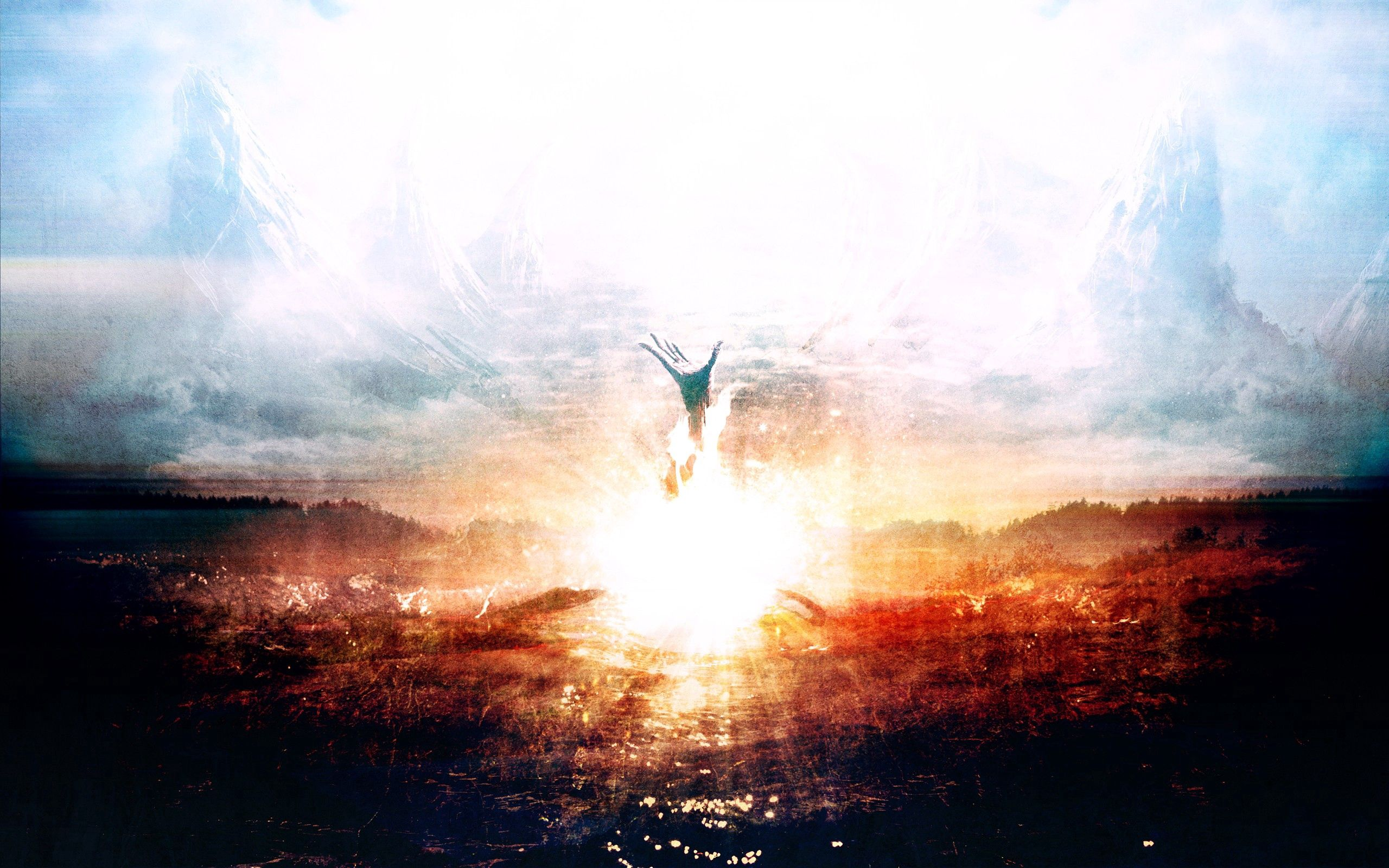 134628 download wallpaper Abstract, Explosion, Hand, Doom, Death, Heaven, Paints screensavers and pictures for free