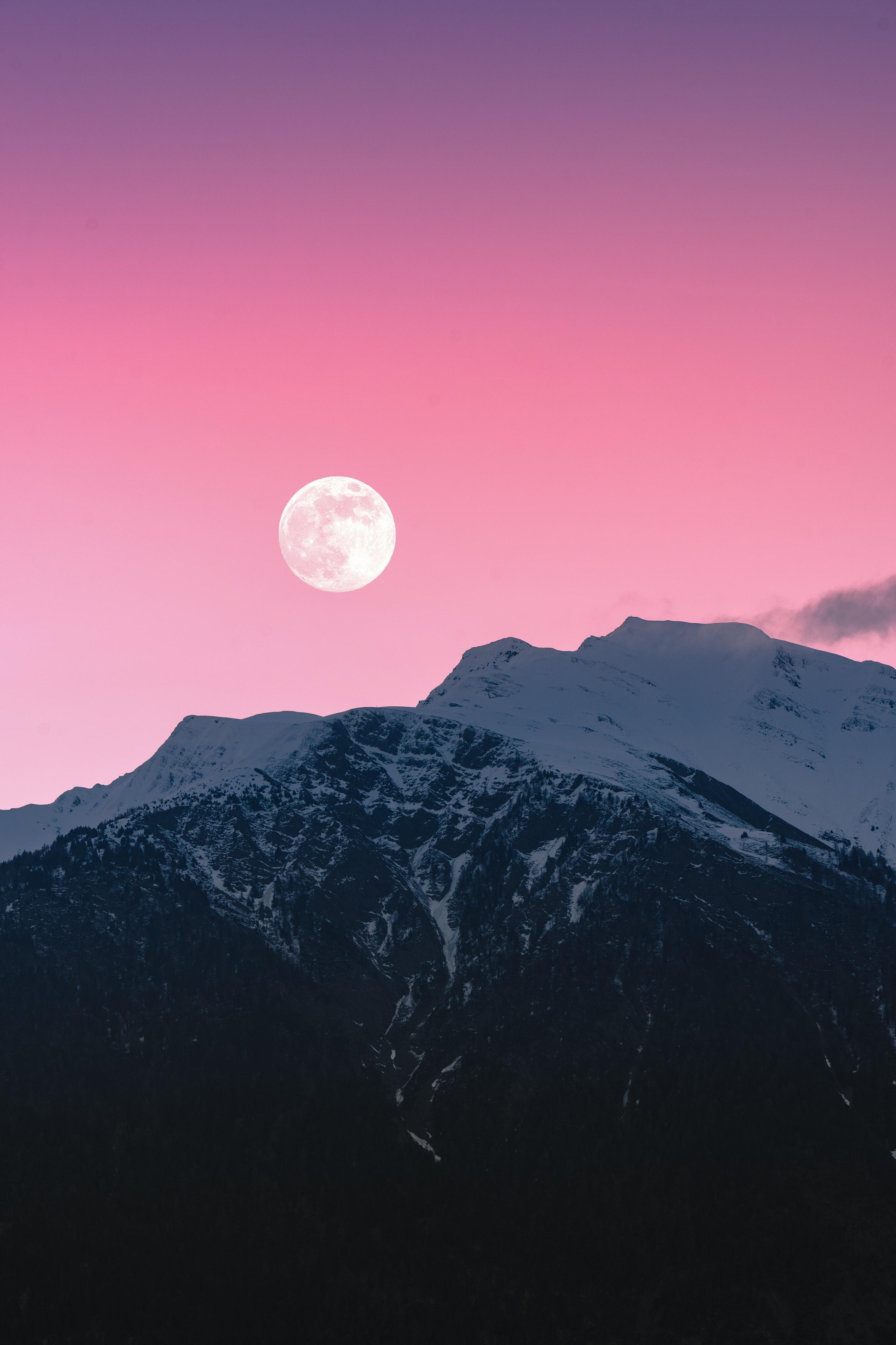 113985 免費下載壁紙 性质, 石头, 岩石, 月球, 雪, 雪覆盖, 白雪覆盖, 粉色的, 粉色, 山 屏保和圖片