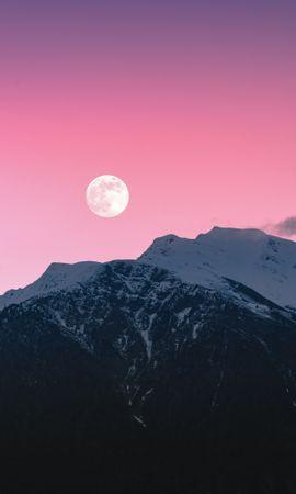 113985 télécharger le fond d'écran Nature, Les Rochers, Roches, Lune, Neige, Couvert De Neige, Snowbound, Rose, Montagnes - économiseurs d'écran et images gratuitement