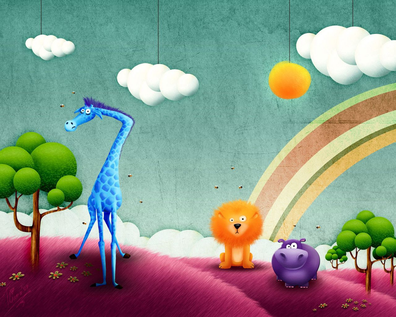 80841 download wallpaper Rainbow, Animals, Vector, Picture, Drawing, Joke screensavers and pictures for free