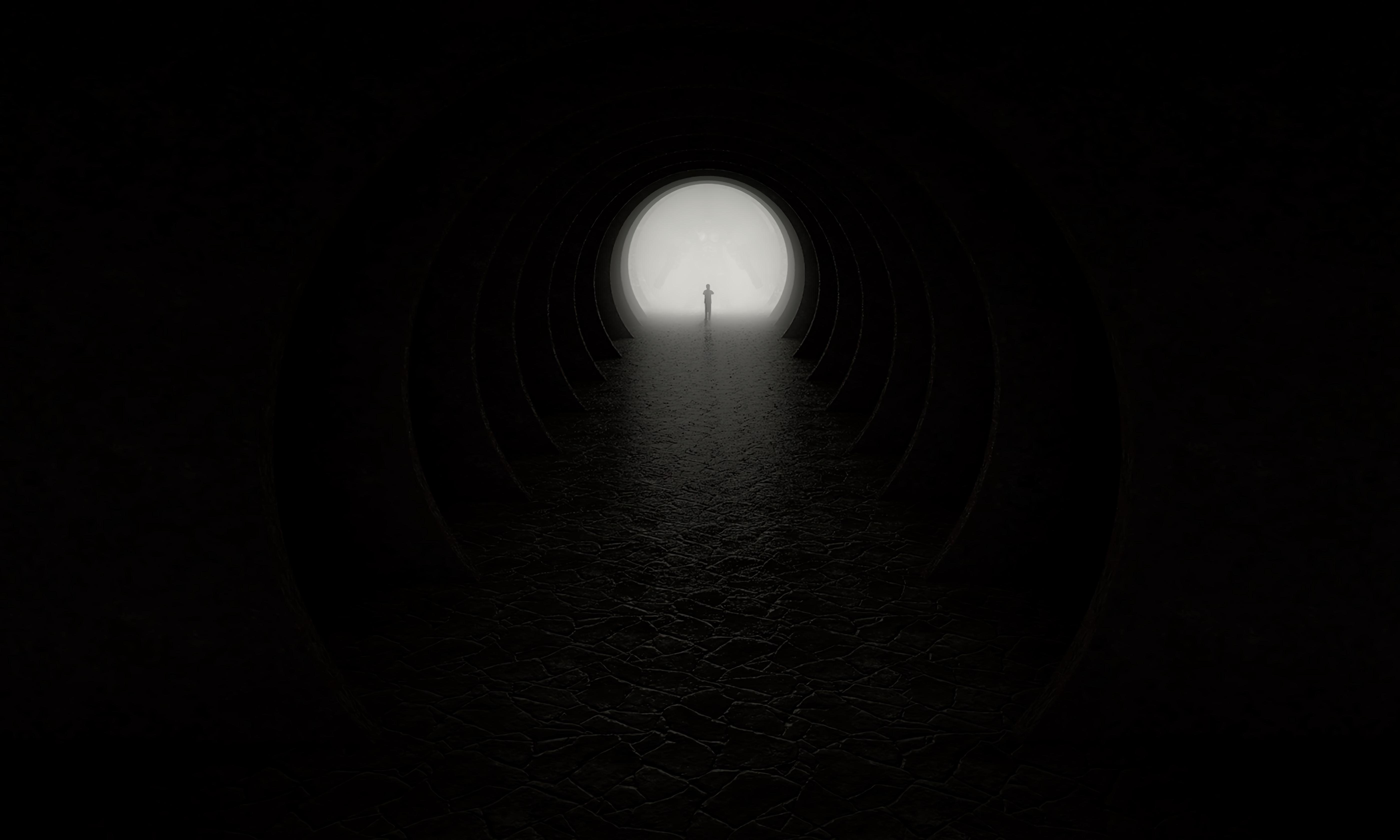 124985 Lade kostenlos Schwarz Hintergrundbilder für dein Handy herunter, Silhouette, Dunkelheit, Ein Kreis, Kreis, Höhle, Ausgabe, Ausfahrt Schwarz Bilder und Bildschirmschoner für dein Handy