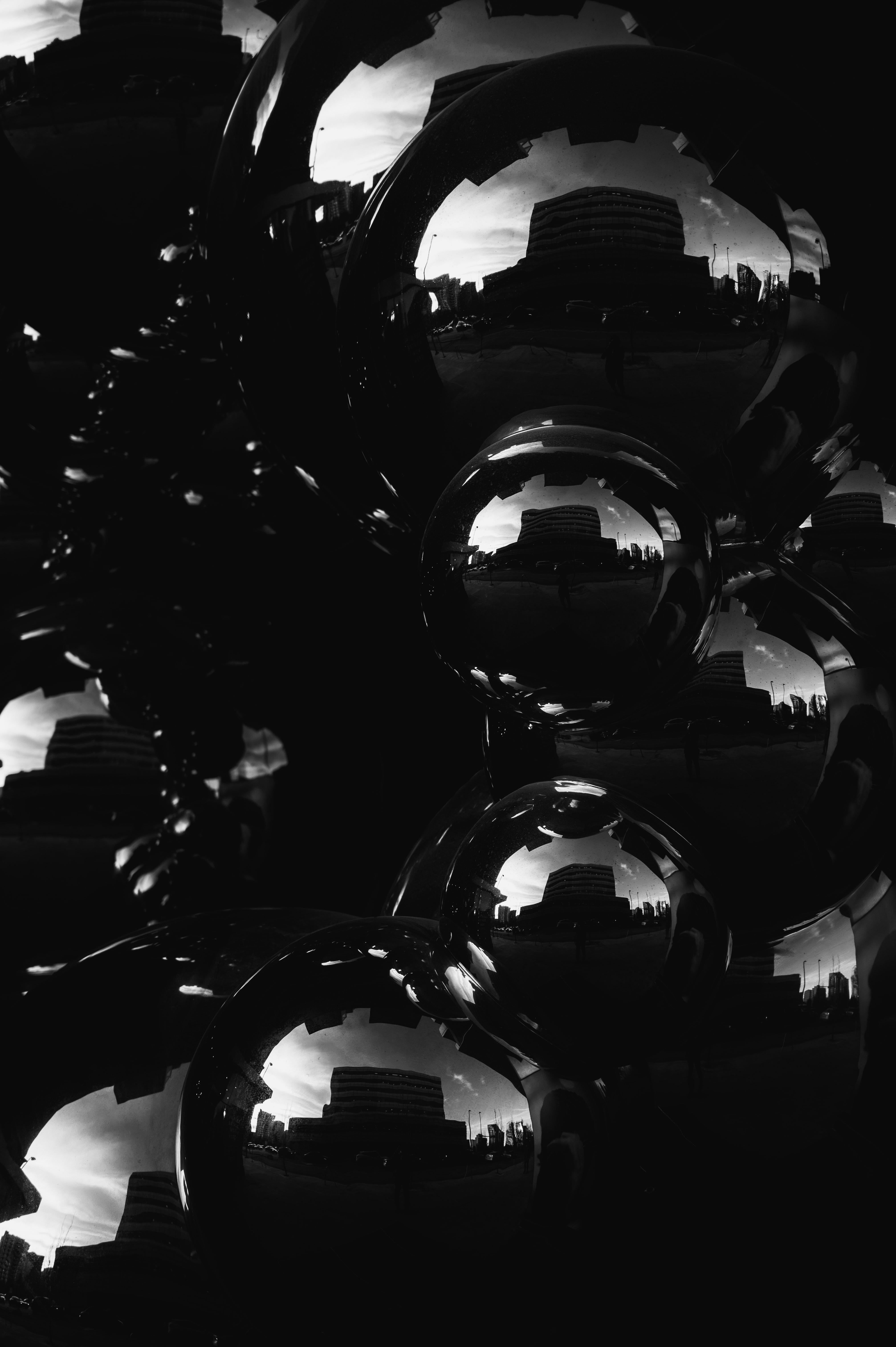 52259 baixar papel de parede Brilho, Clarão, Reflexão, Preto E Branco, Preto-E-Branco, O Preto, Bubbles - protetores de tela e imagens gratuitamente