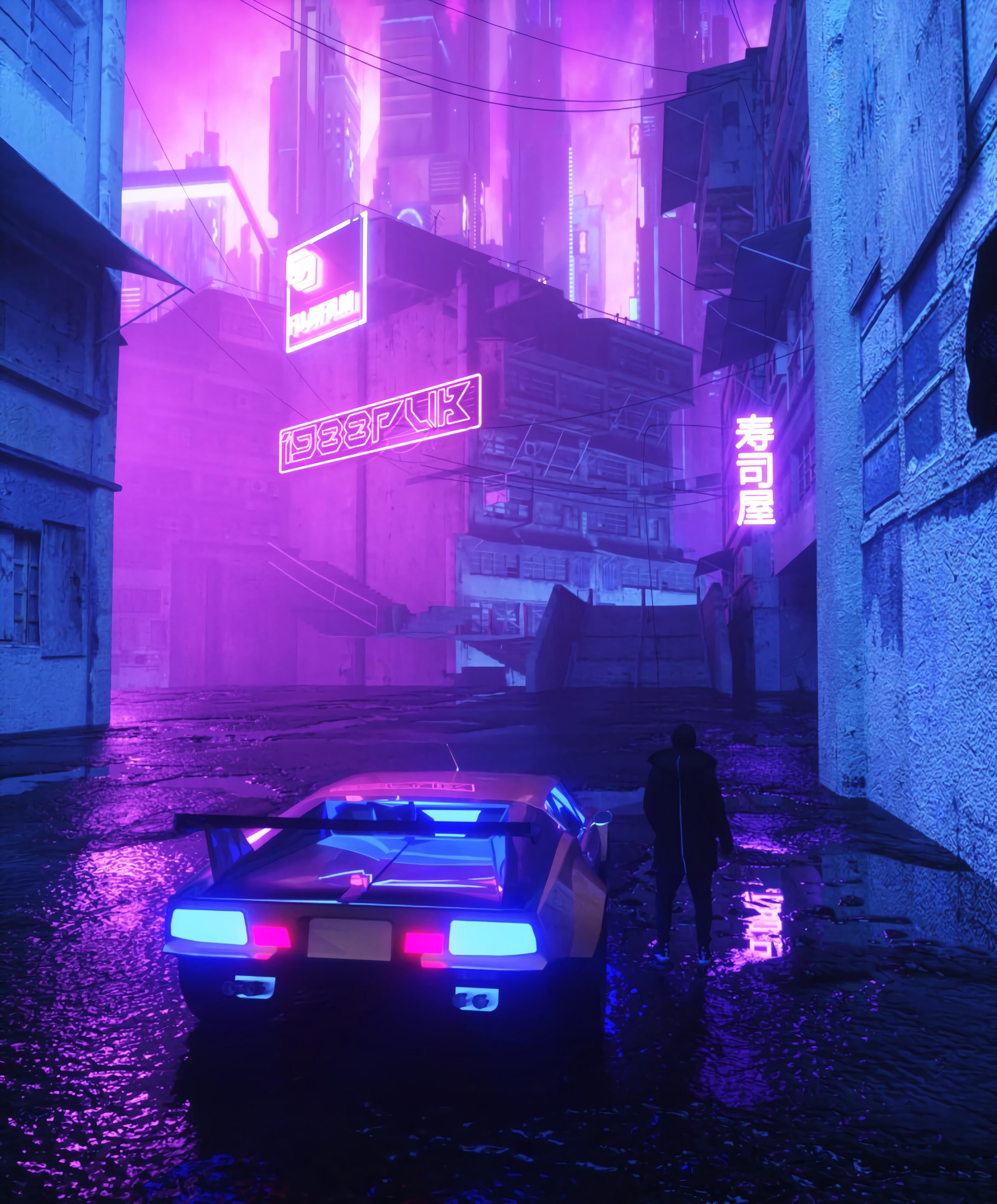 142726 Hintergrundbild herunterladen Auto, Übernachtung, Dunkel, Silhouette, Straße, Wagen, Neon, Street - Bildschirmschoner und Bilder kostenlos